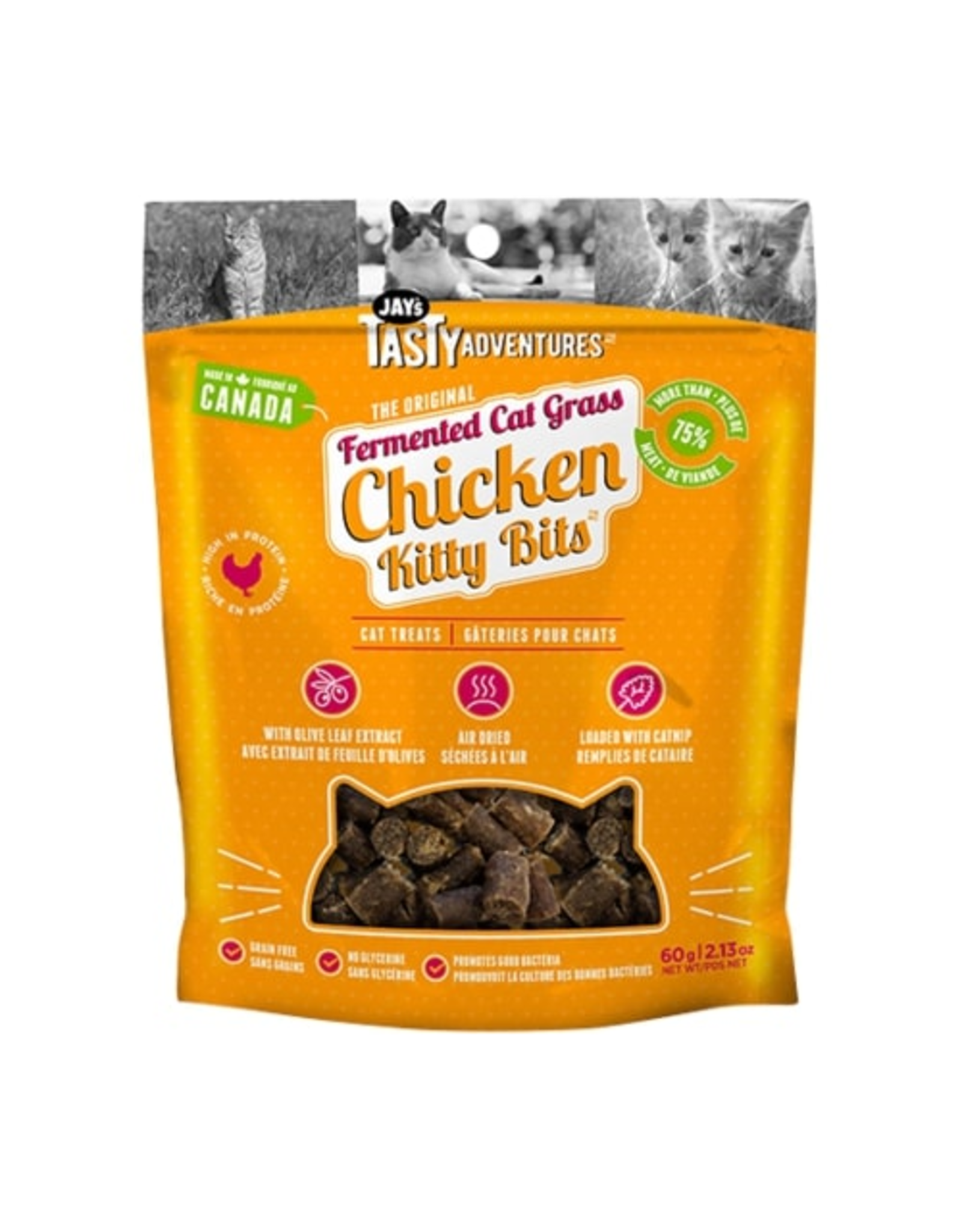Jay's Tasty Adventures Jays Fermented Cat Grass Chicken Cat Treats 60g