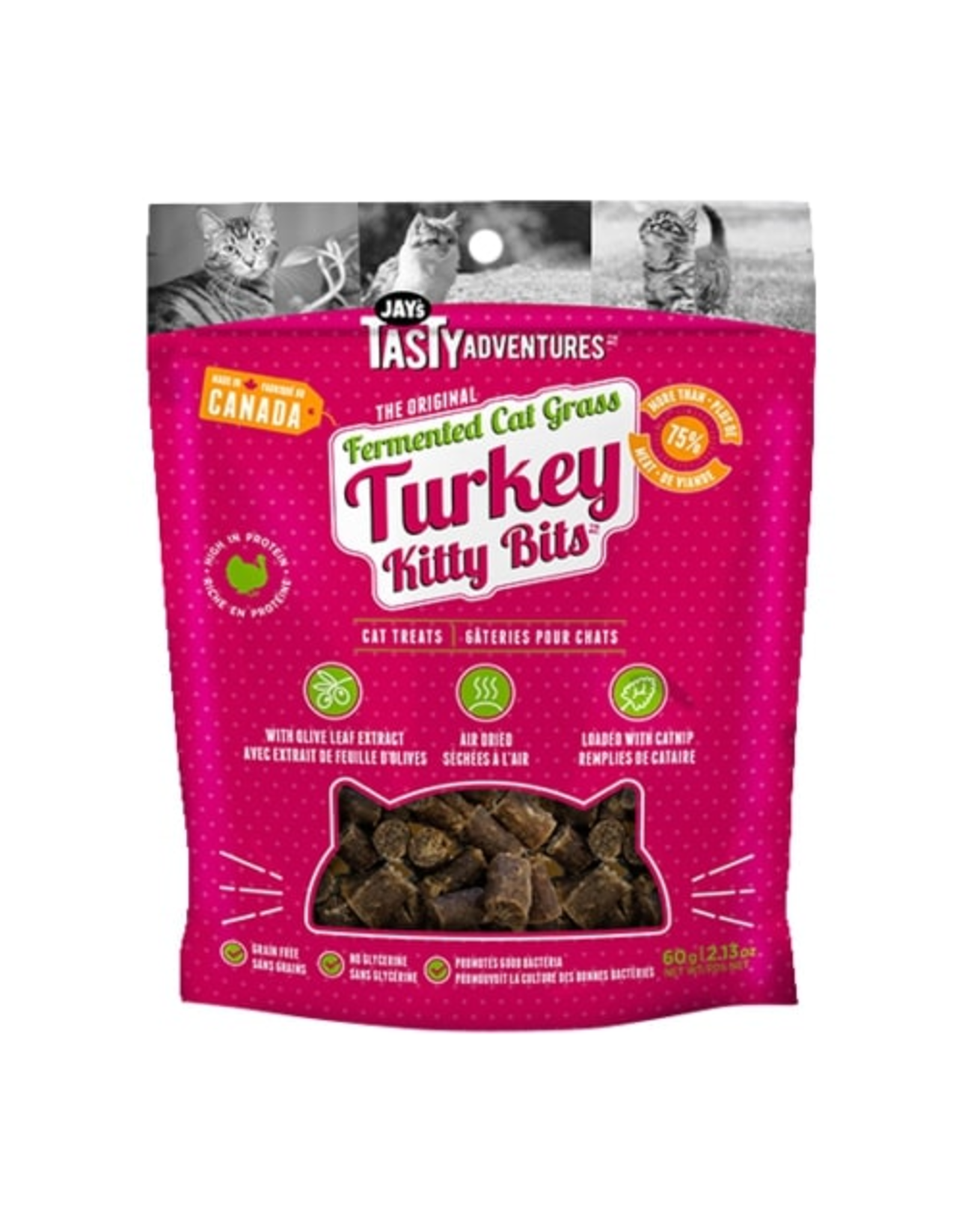 Jay's Tasty Adventures Jays Fermented Cat Grass Turkey Cat Treats 60g