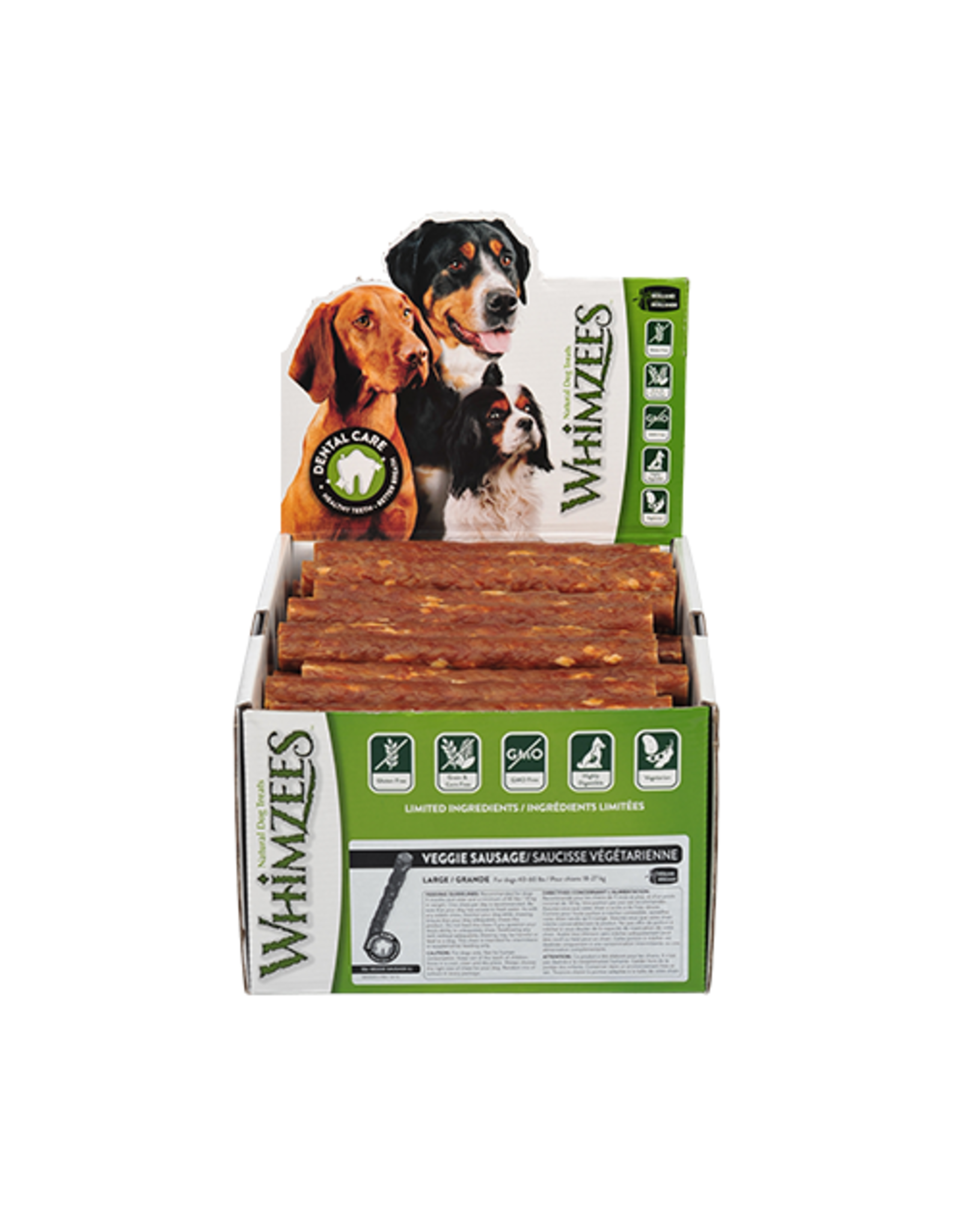 Whimzees Whimzees Veggie Sausage Large Dental Chew for Dogs