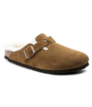 Birkenstock Boston Shearling Mink Suede Leather
