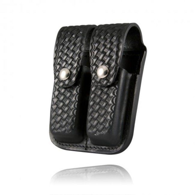 Boston Leather Boston Leather Double Mag 9Mm & 40 Mm Basketweave Clip Pouch