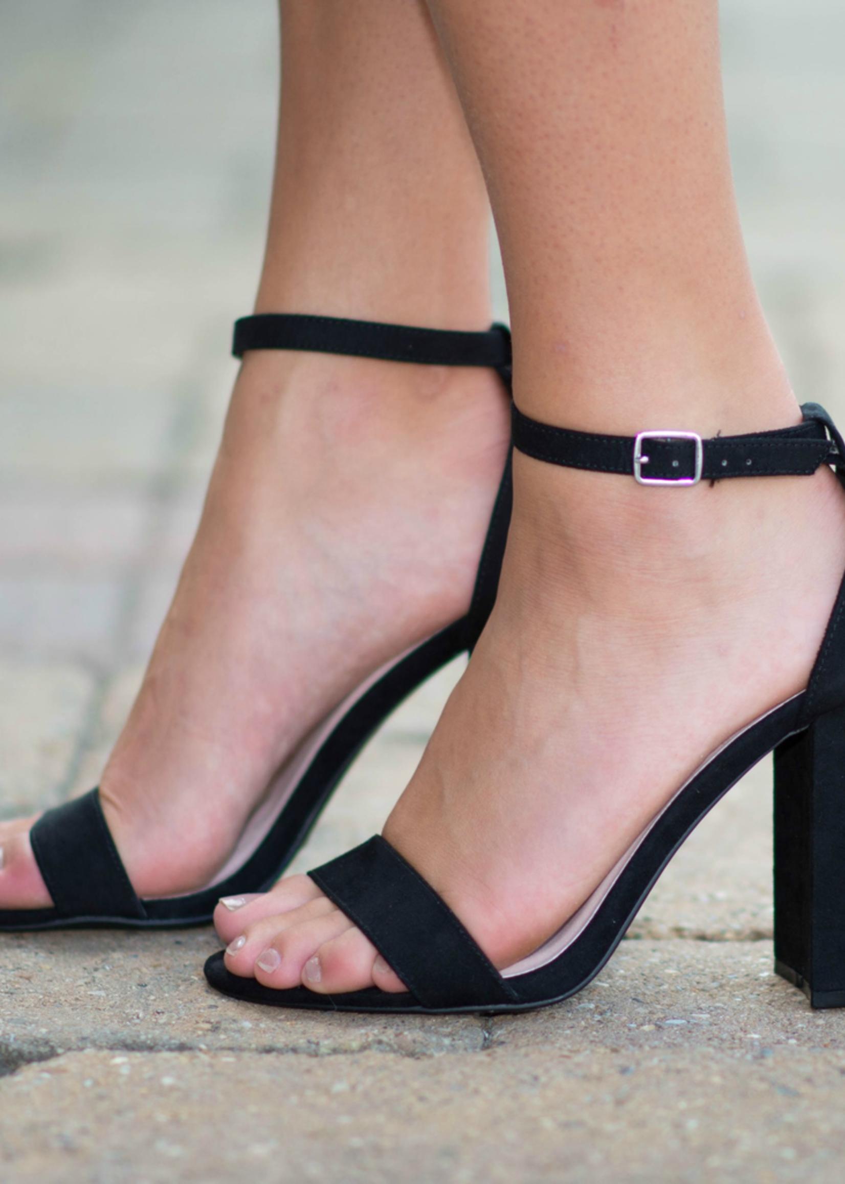 Suede Black Block Heel