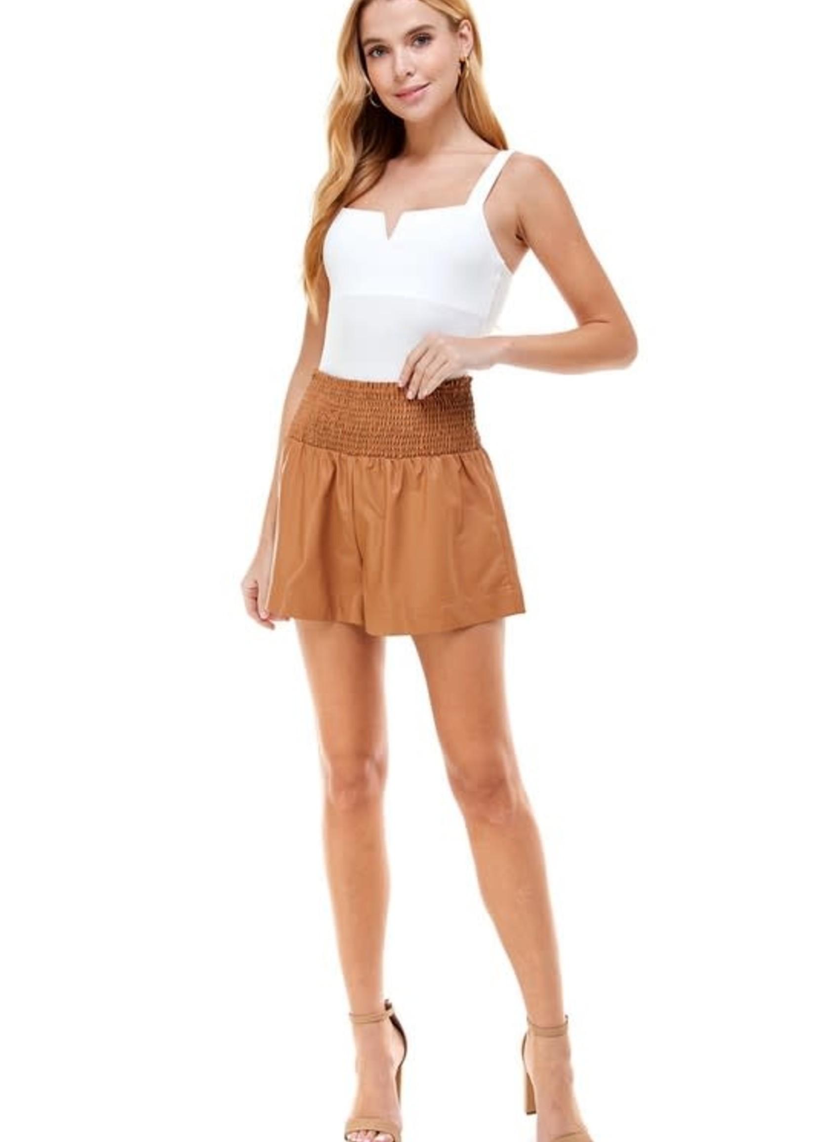 Camel Leather Shorts