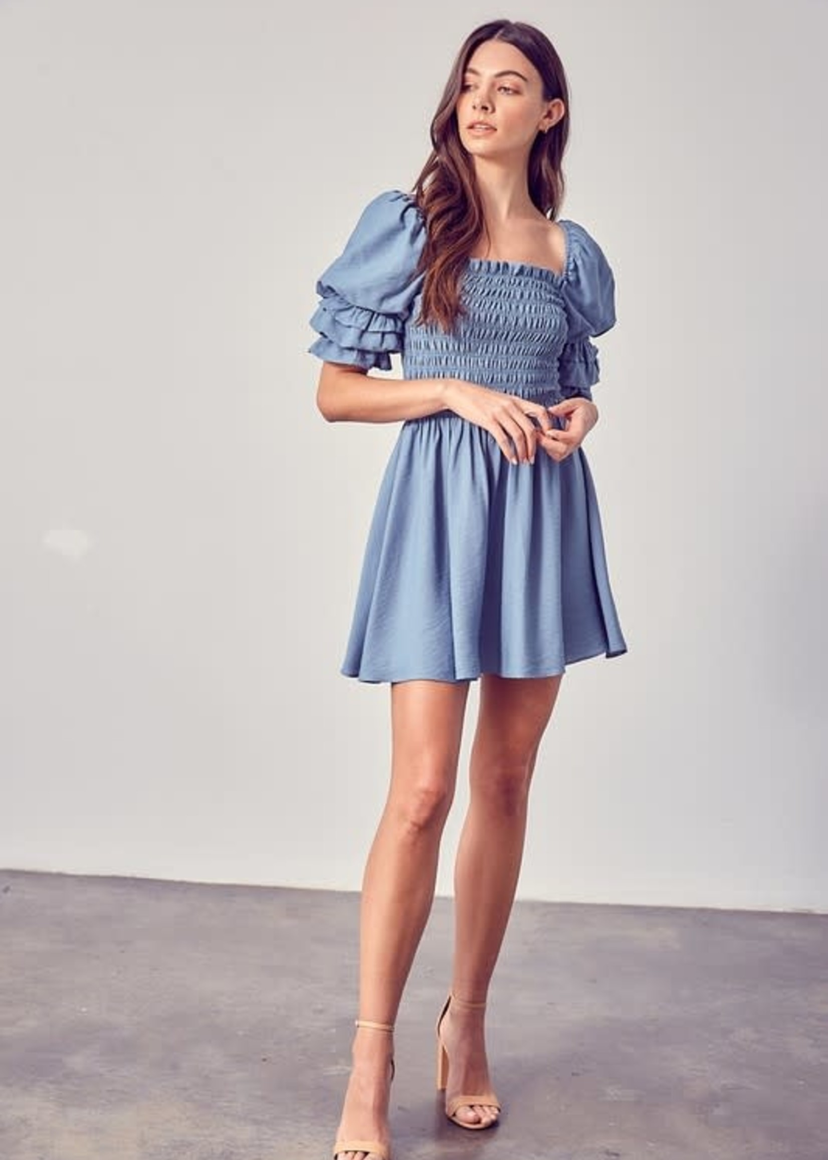 Pretty Puff Sleeve and Smock Blue Dress