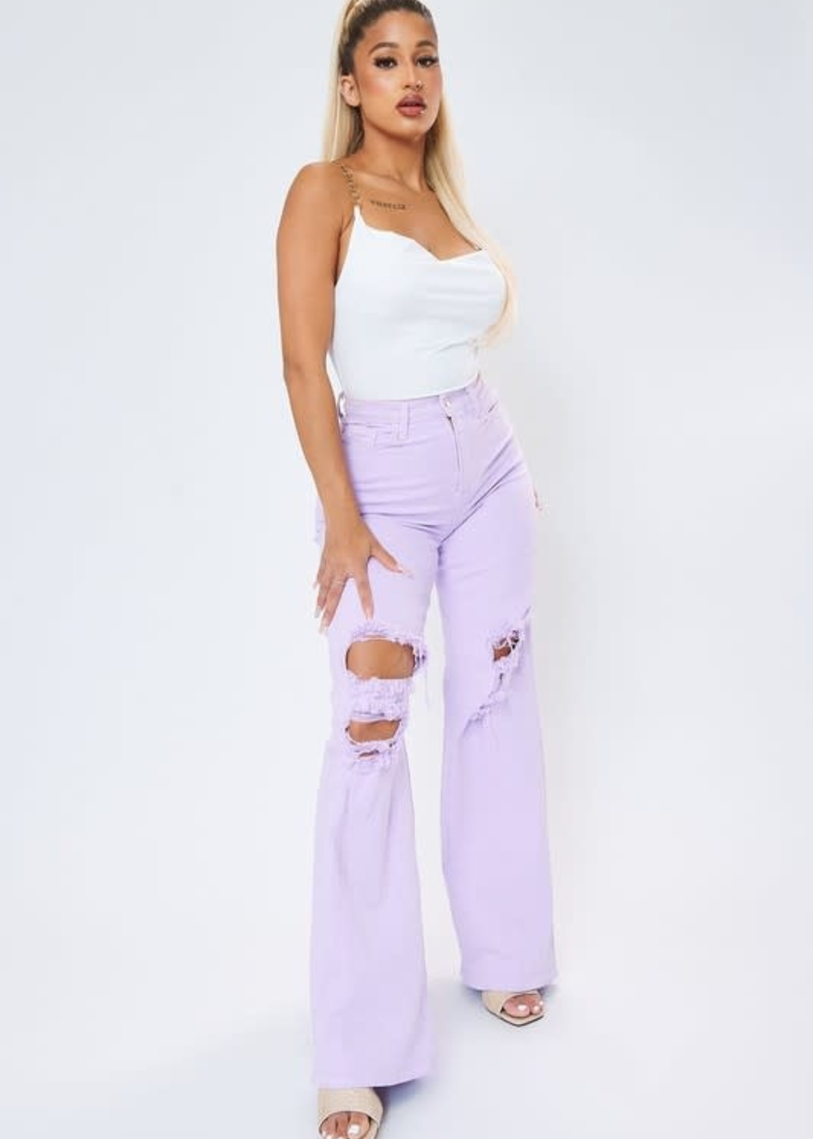 Lavender Wide Leg High Waisted Denim