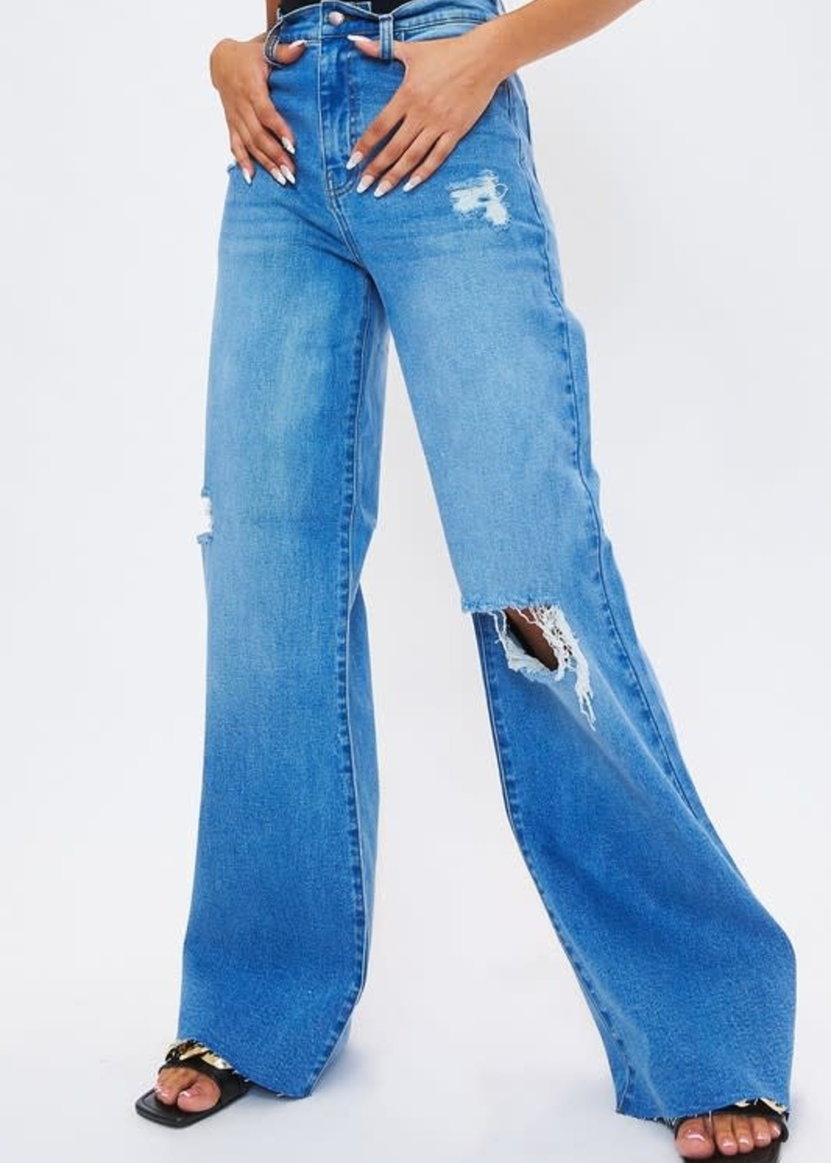 High Rise Medium Wash Distressed Wide Leg Denim