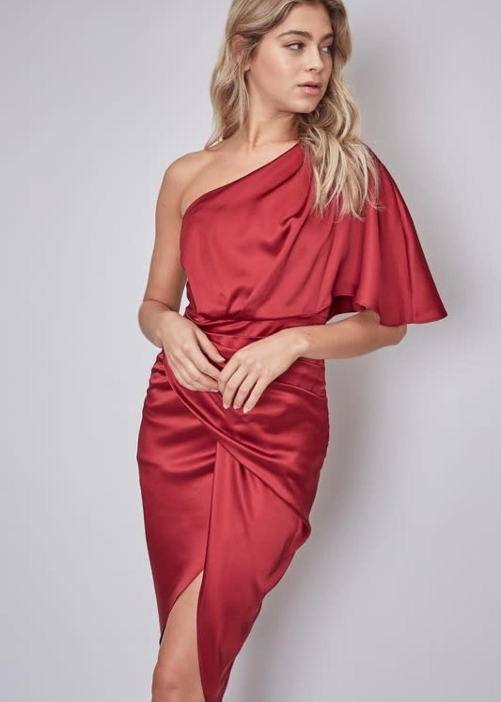 One Shoulder Satin Semi Formal Dress