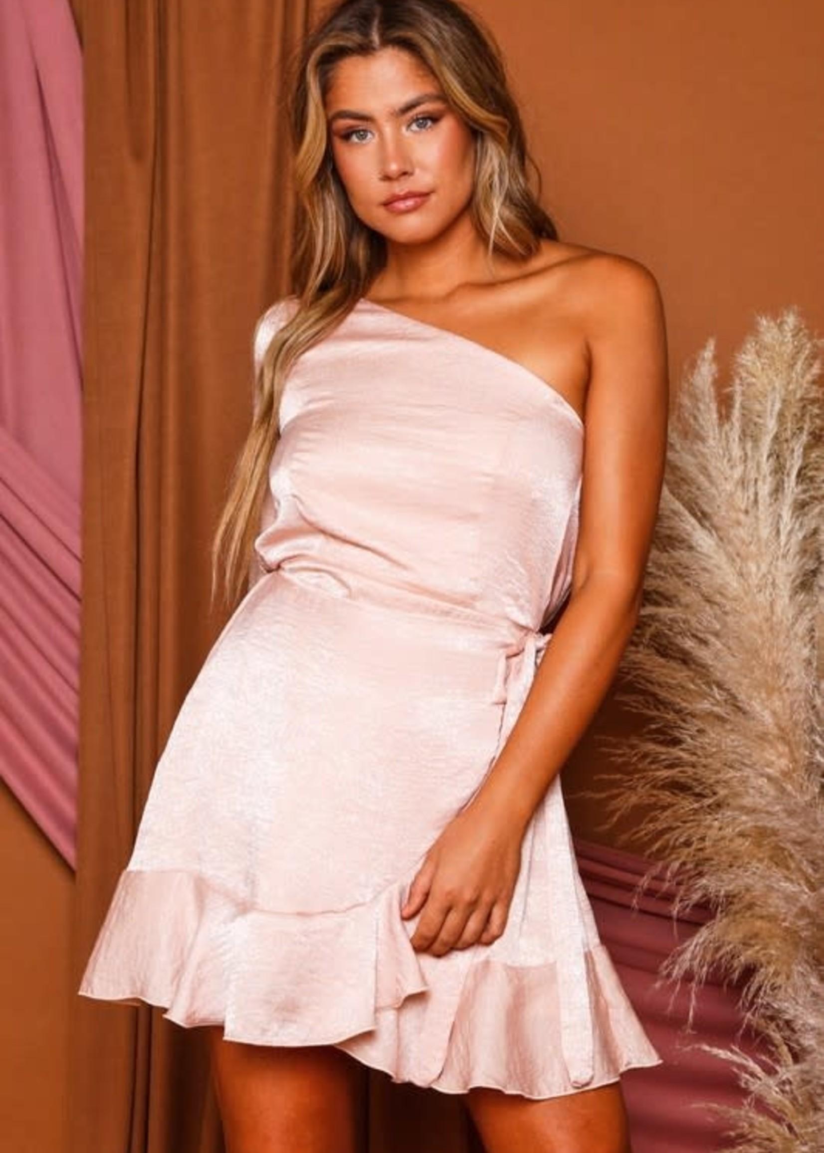 Make Me Blush One Shoulder Satin Dress