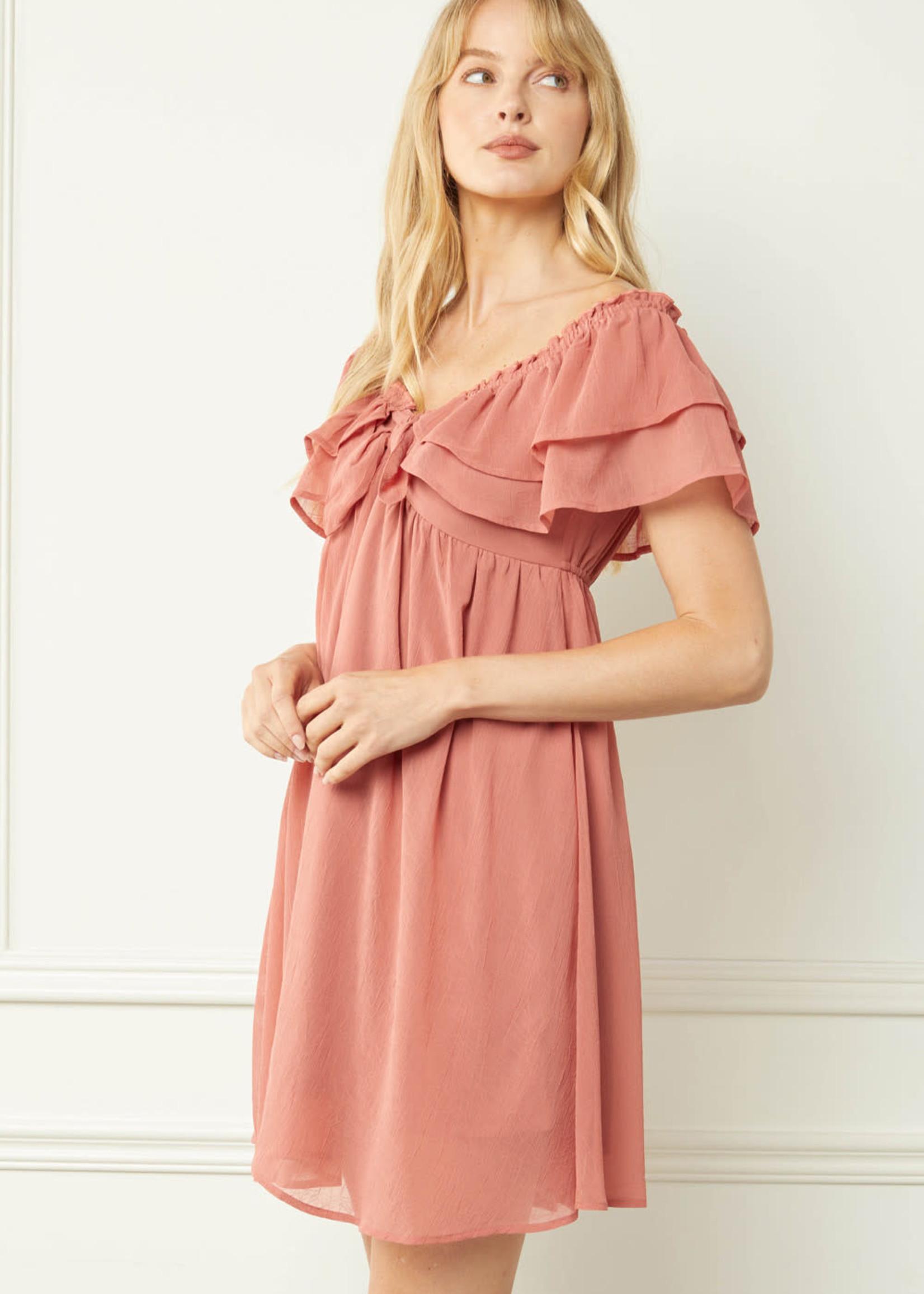 Fall For Me Ruffle Dress (2 Colors)