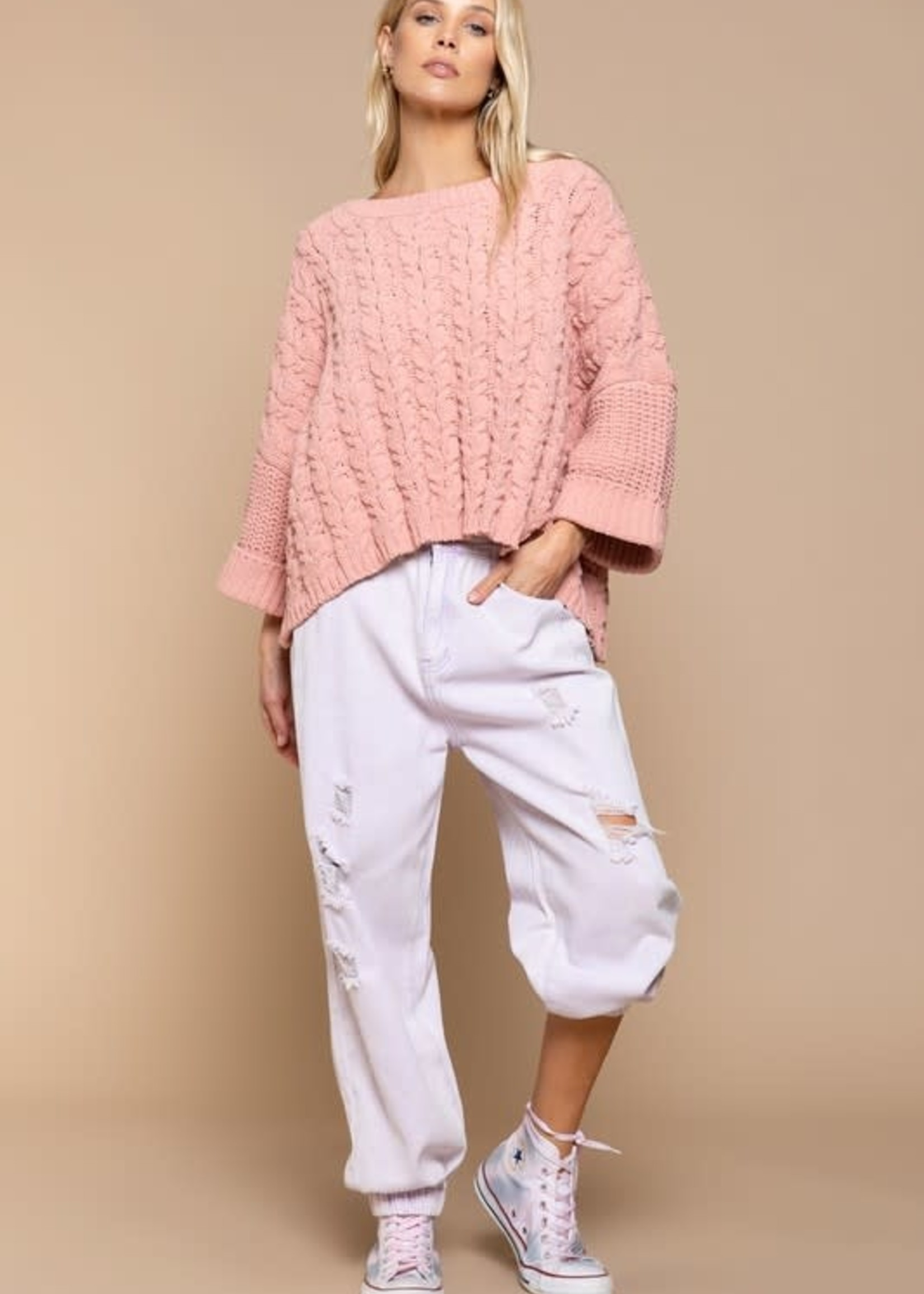 Blush Pink Cable Knit Pullover Sweater