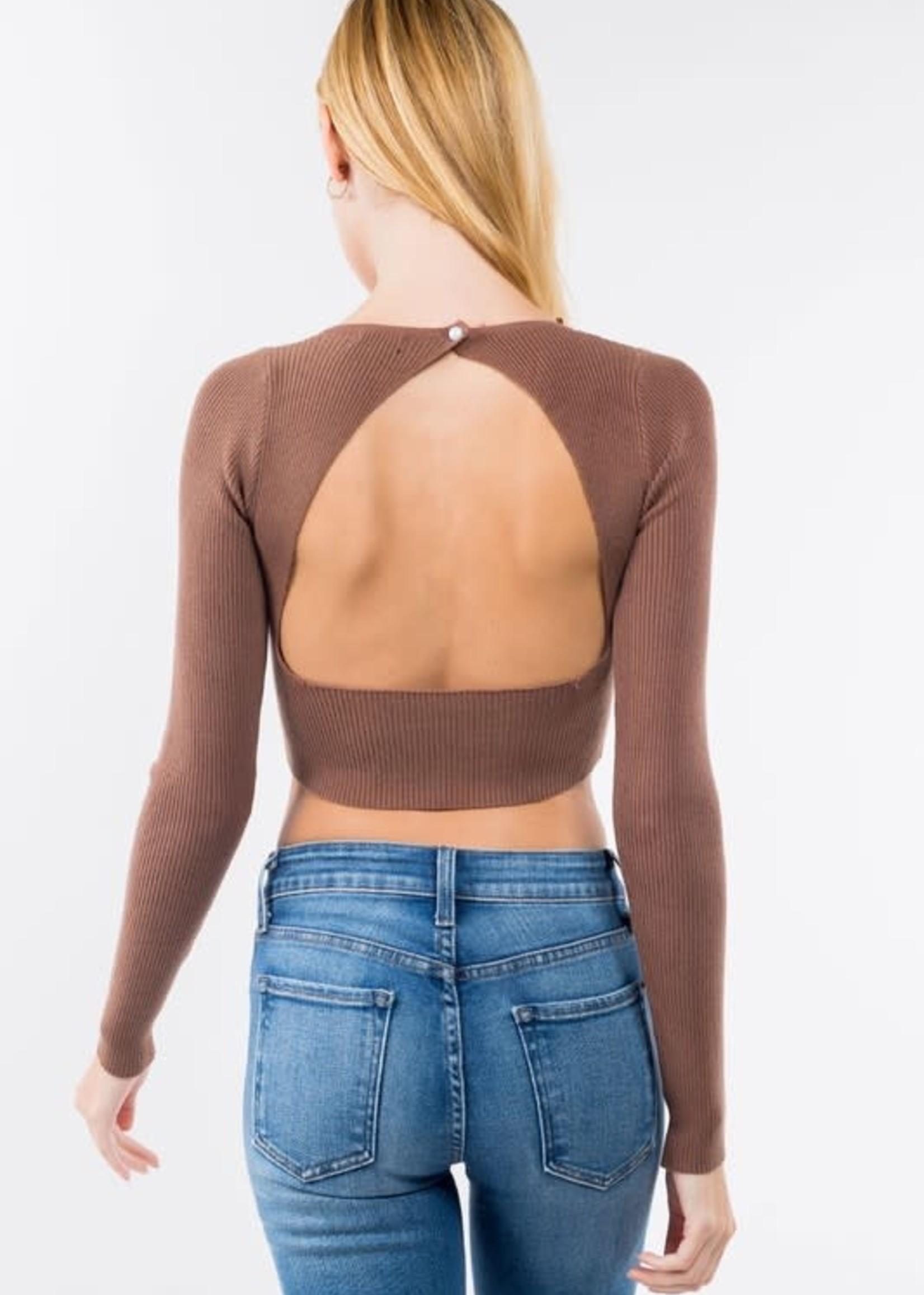 Open  Back Crop Sweater  (3 Colors)