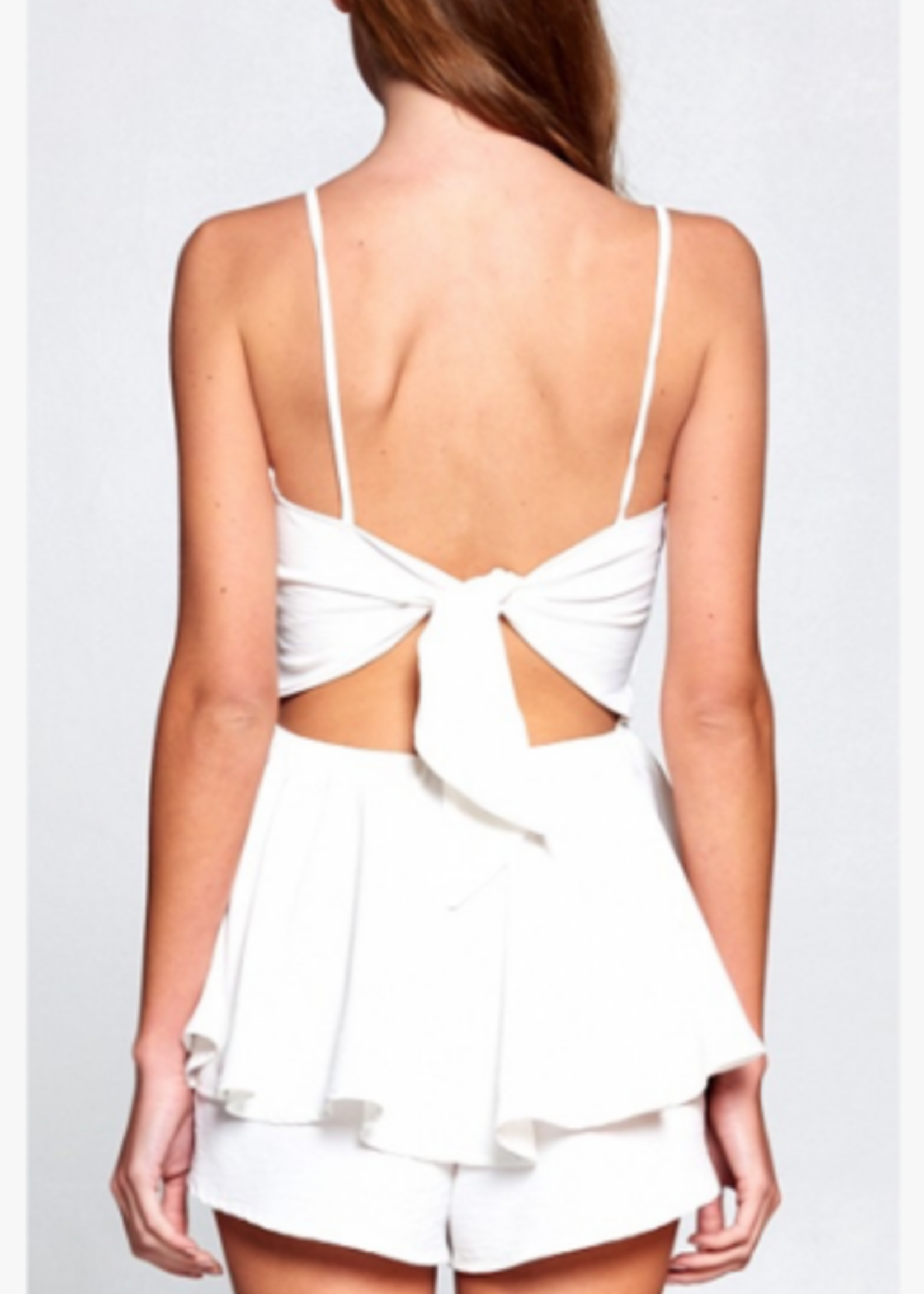 Party Perfect Little White Open Back Romper