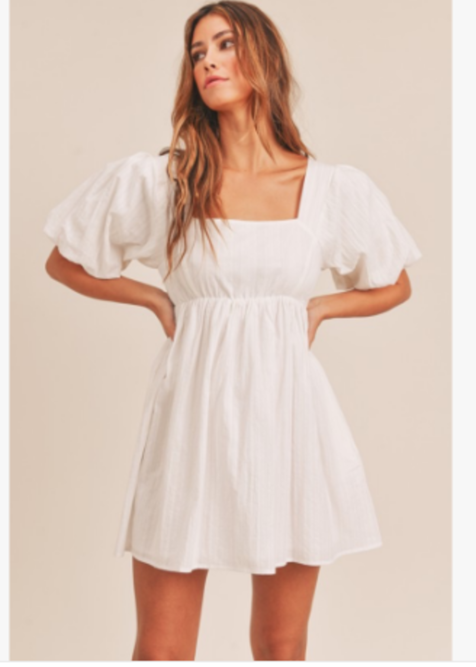 Party Please White Tie Back Baby Doll Dress
