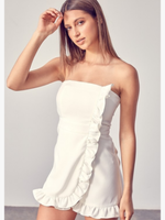 Party With Me White Ruffle Strapless Romper