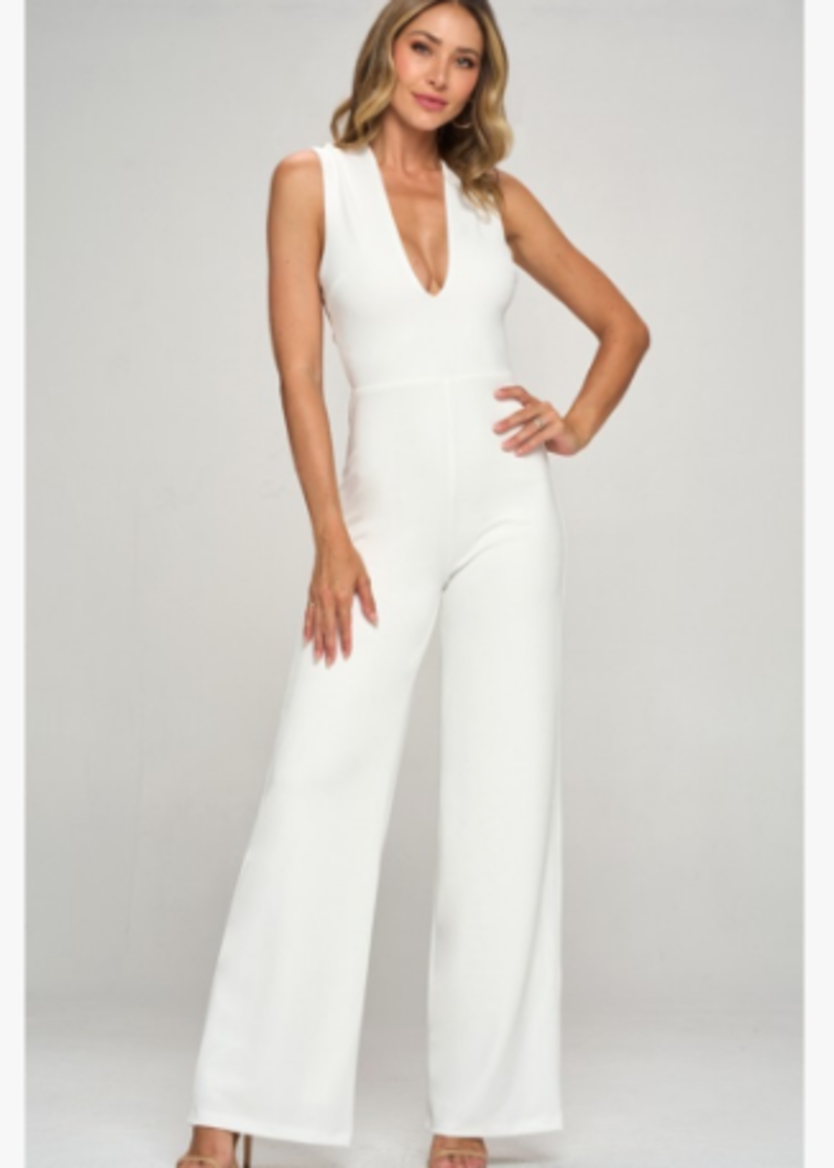 Best Day Ever White Open Back Jumpsuit