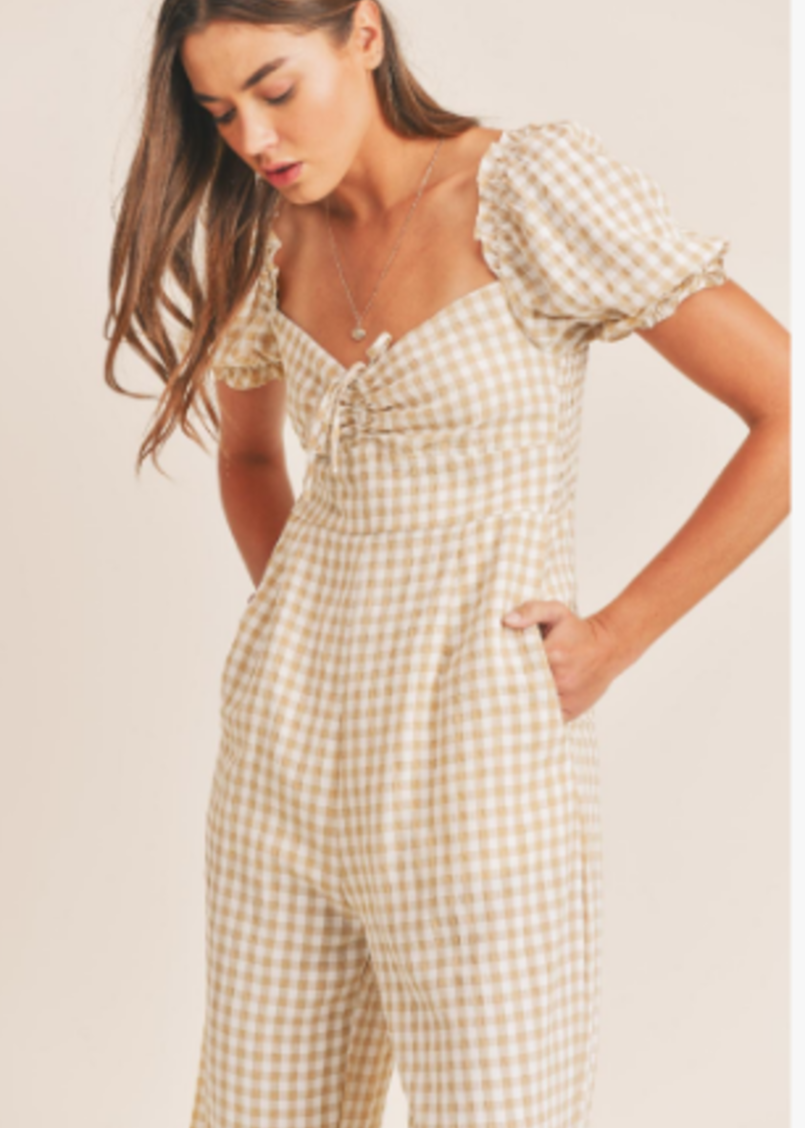 Get It Girl Taupe Gingham Smocked Jumpsuit