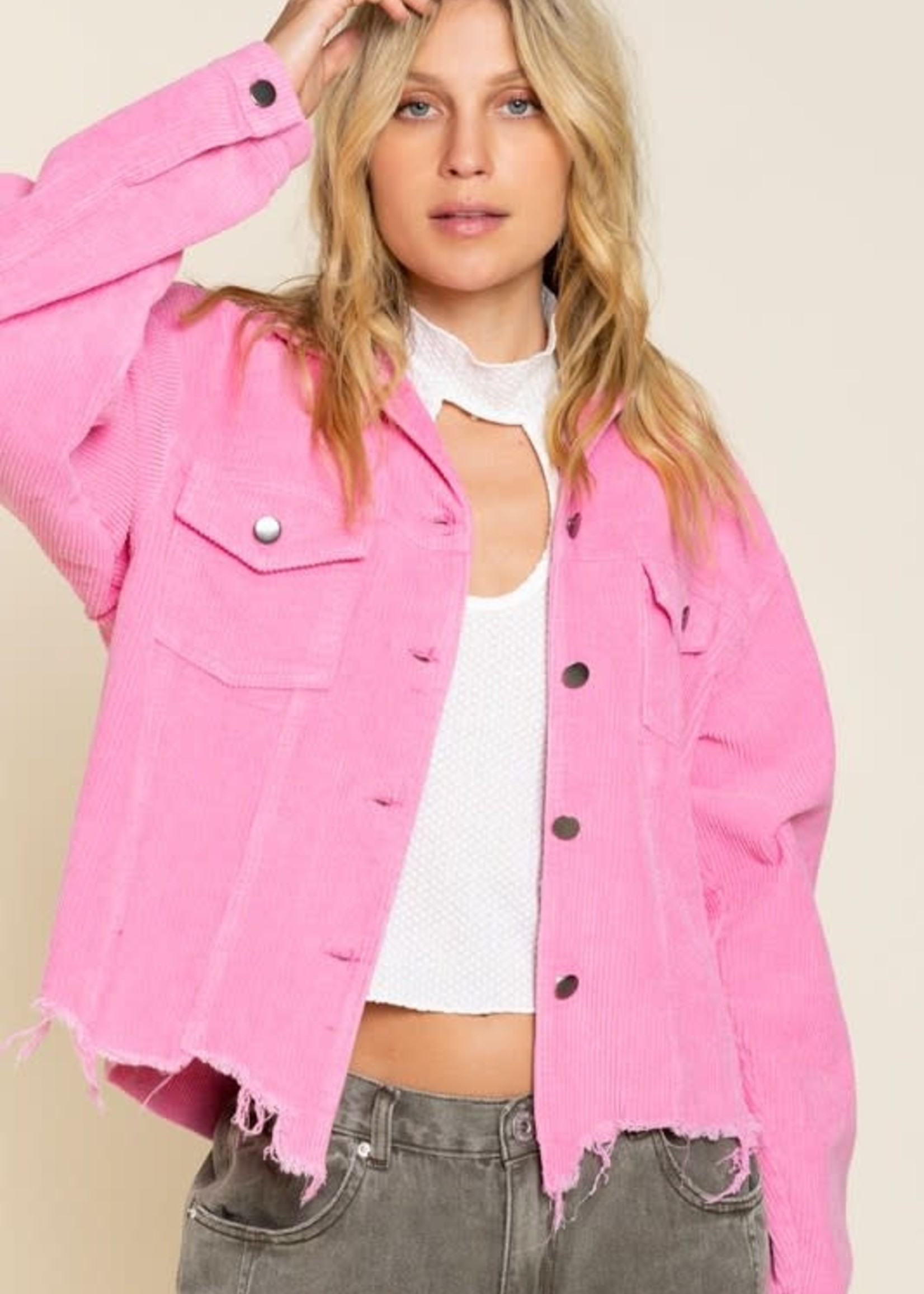 Call It A Day Hot Pink Corduroy Jacket