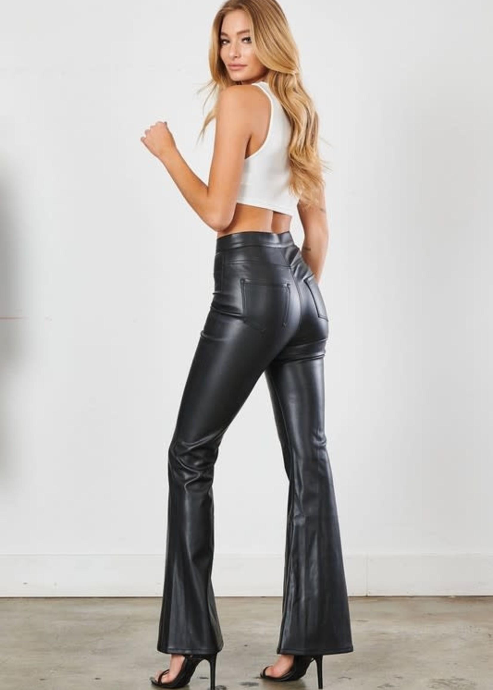 Black Leather Flares