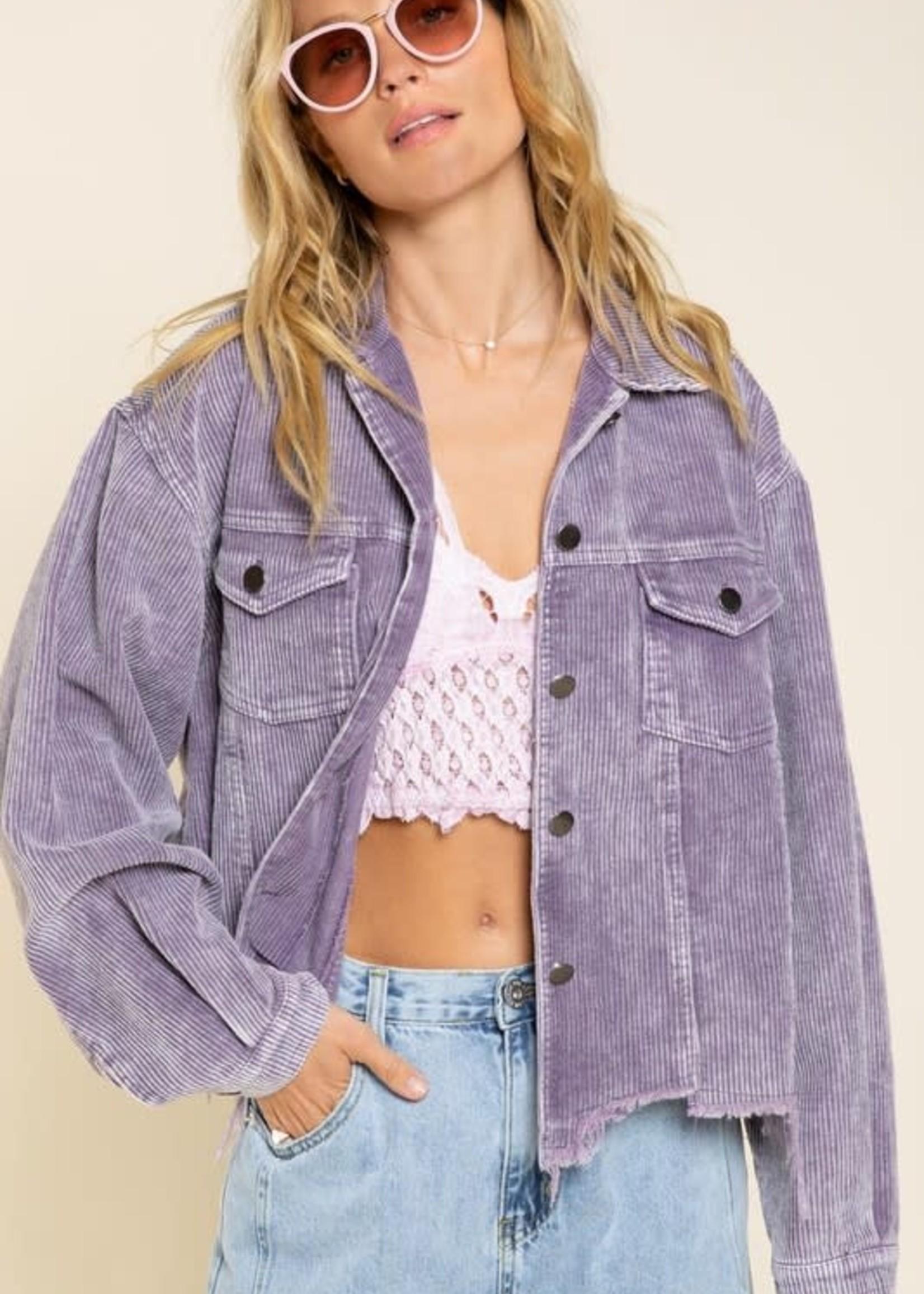 Call It A Day Purple Corduroy Jacket