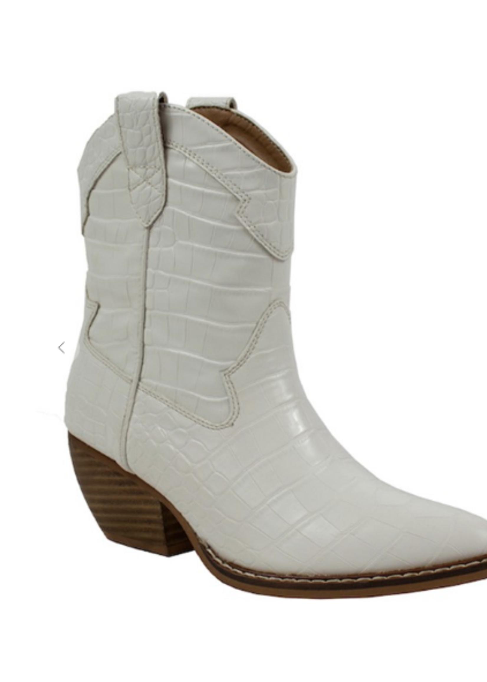 White Western Croc Boots