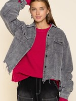 Call It A Day Charcoal Corduroy Jacket