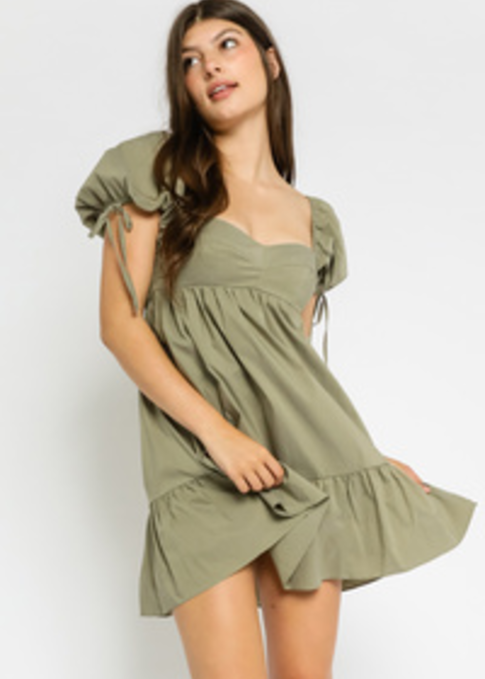 Fall With Me Olive Baby Doll Dress