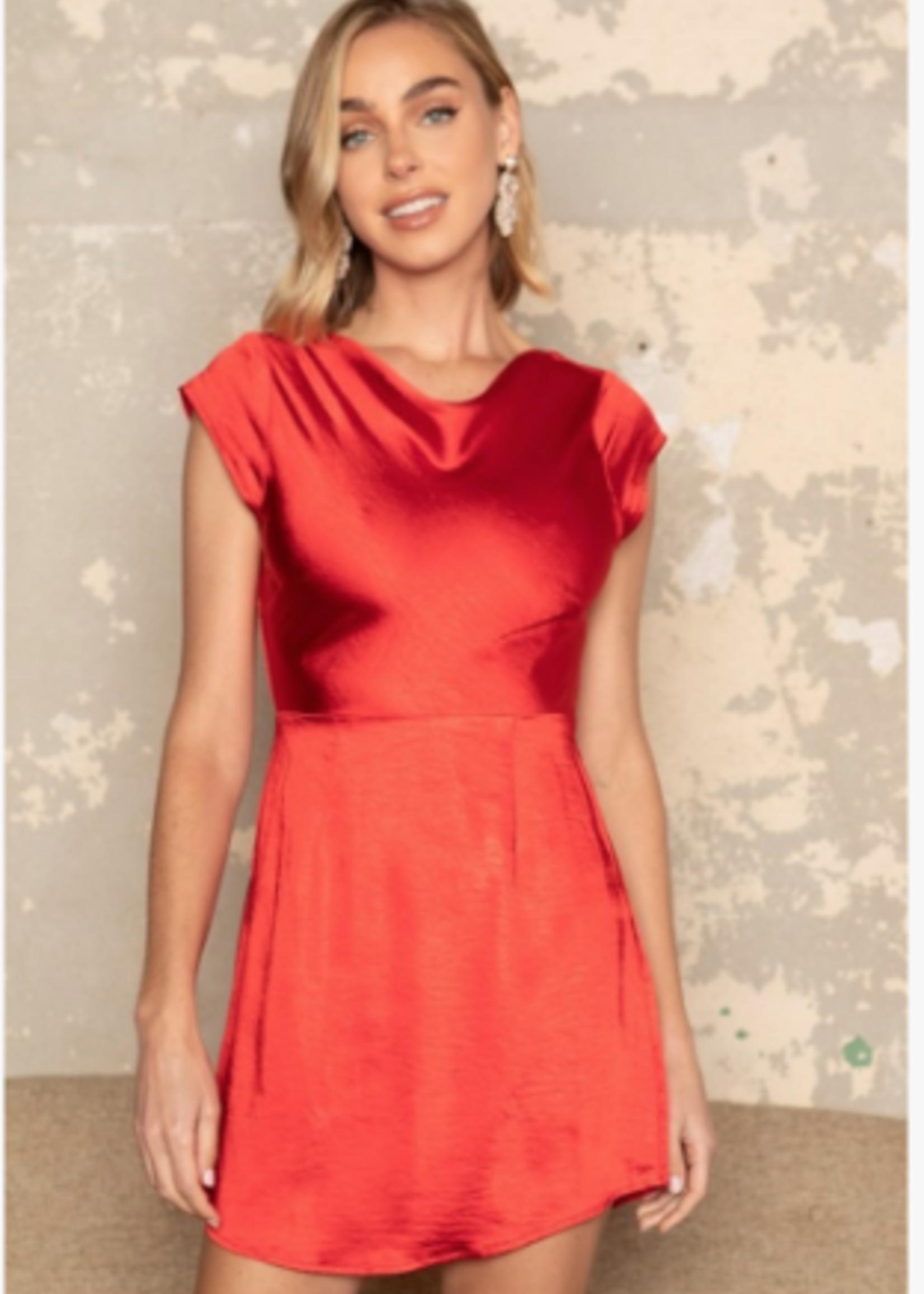 Satin Dream Red Open Back Detail Dress