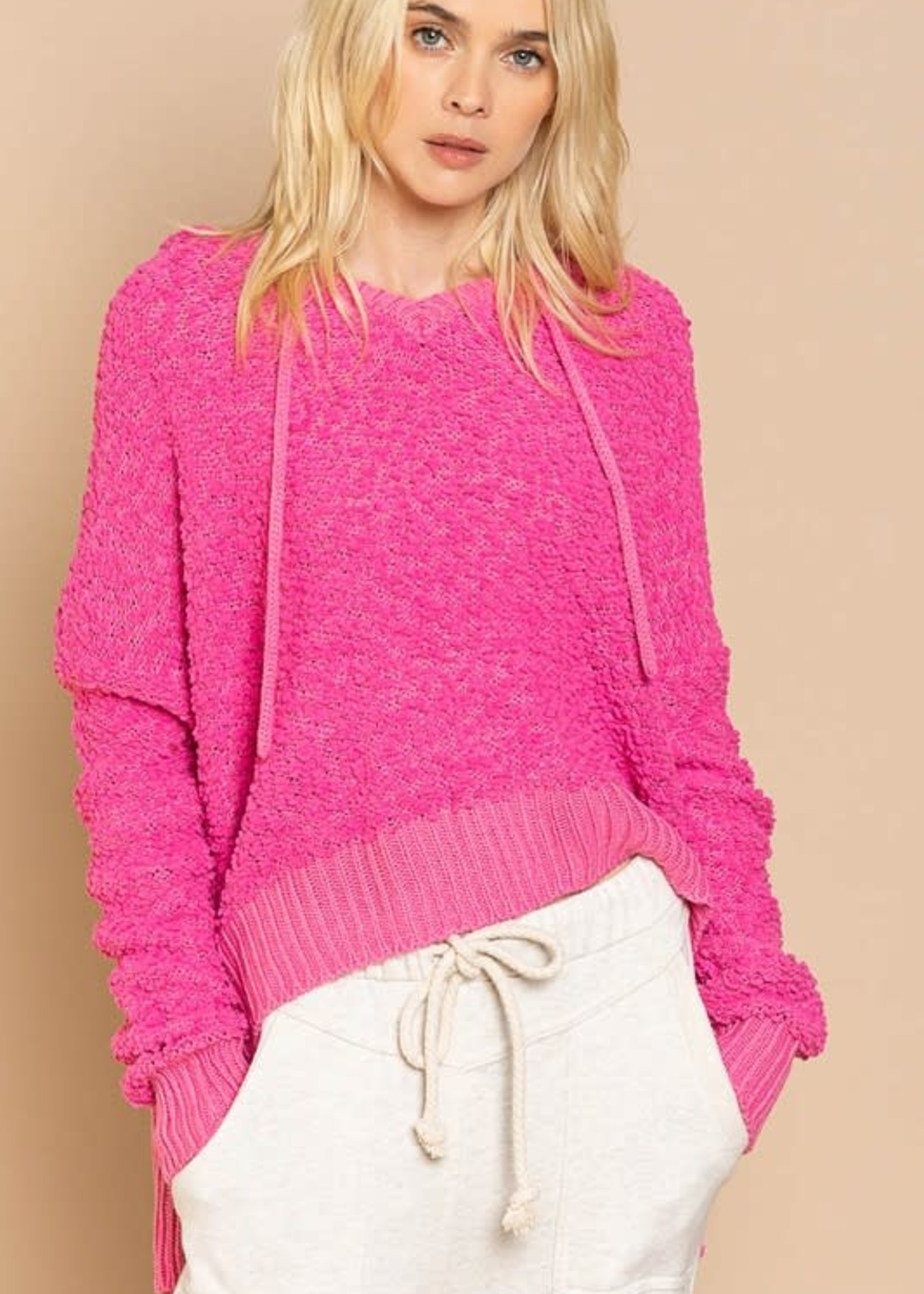 Popcorn Texture Hoodie , Hot Pink, Small