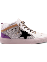 Sparkle Glitter Purple Star High Top Sneakers