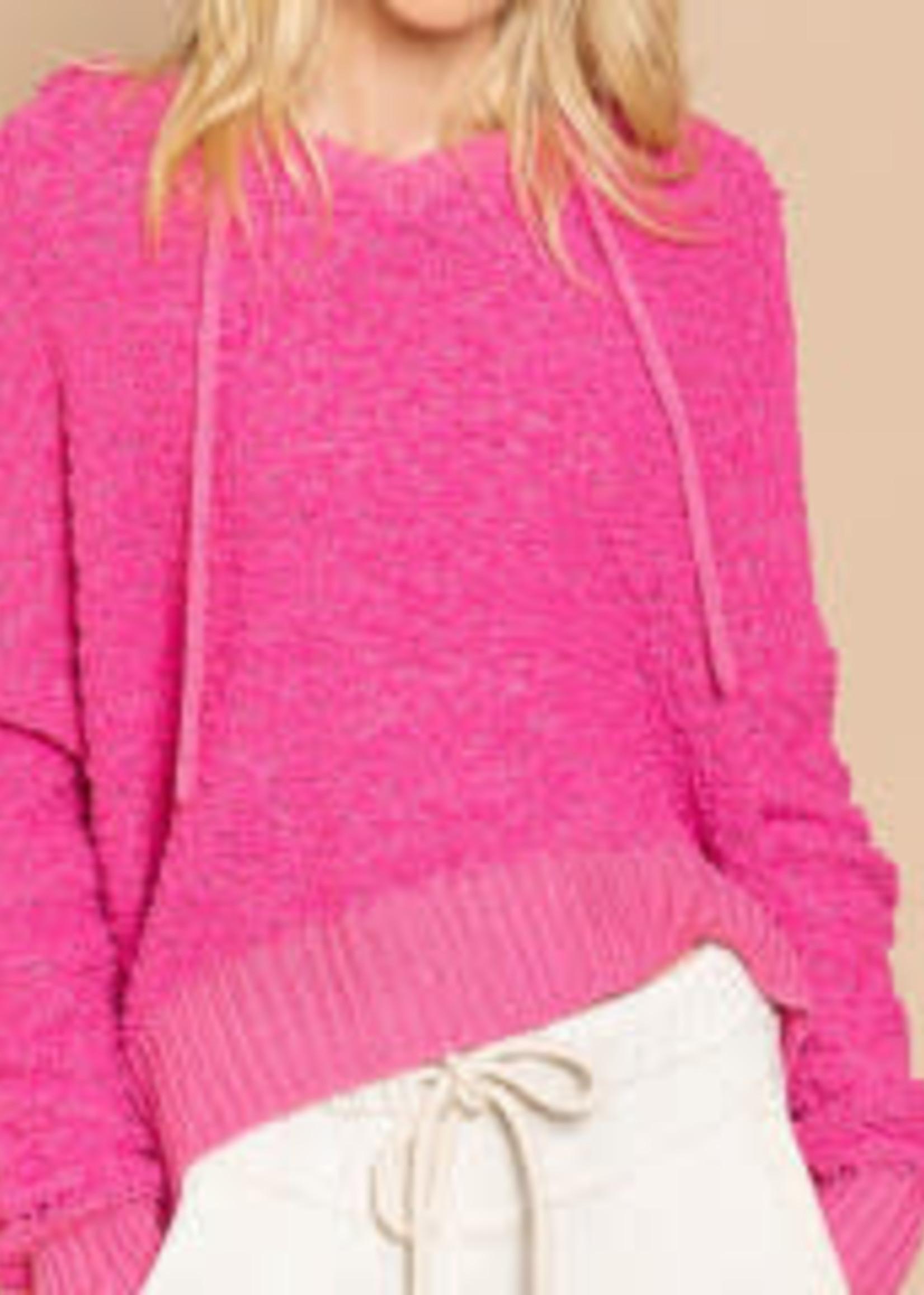 Popcorn Texture Hoodie , Hot Pink, Medium