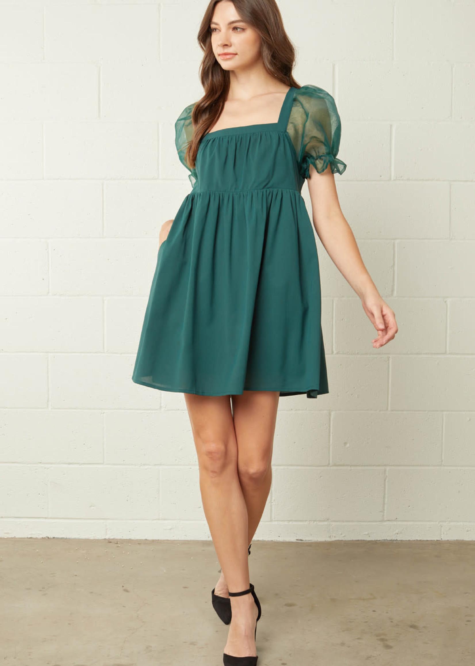 Sheer Delight Hunter Green Dress