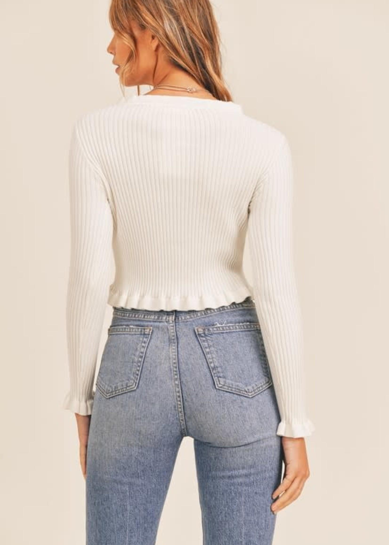Ruffle Detail Ivory Sweater