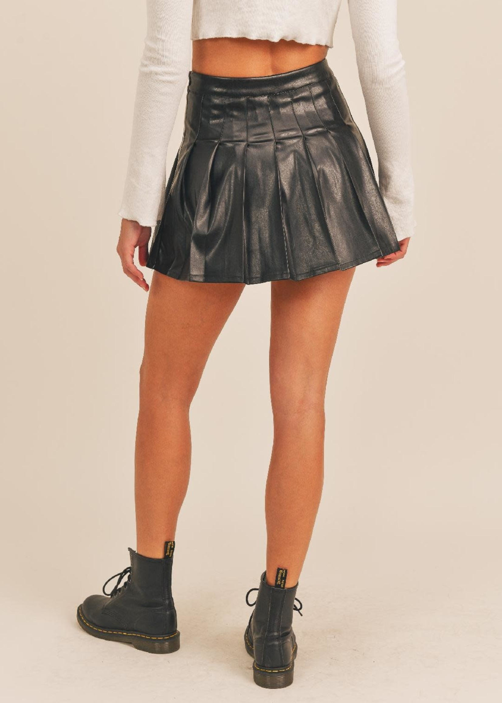 Pleats To Meet You Black Leather Skirt