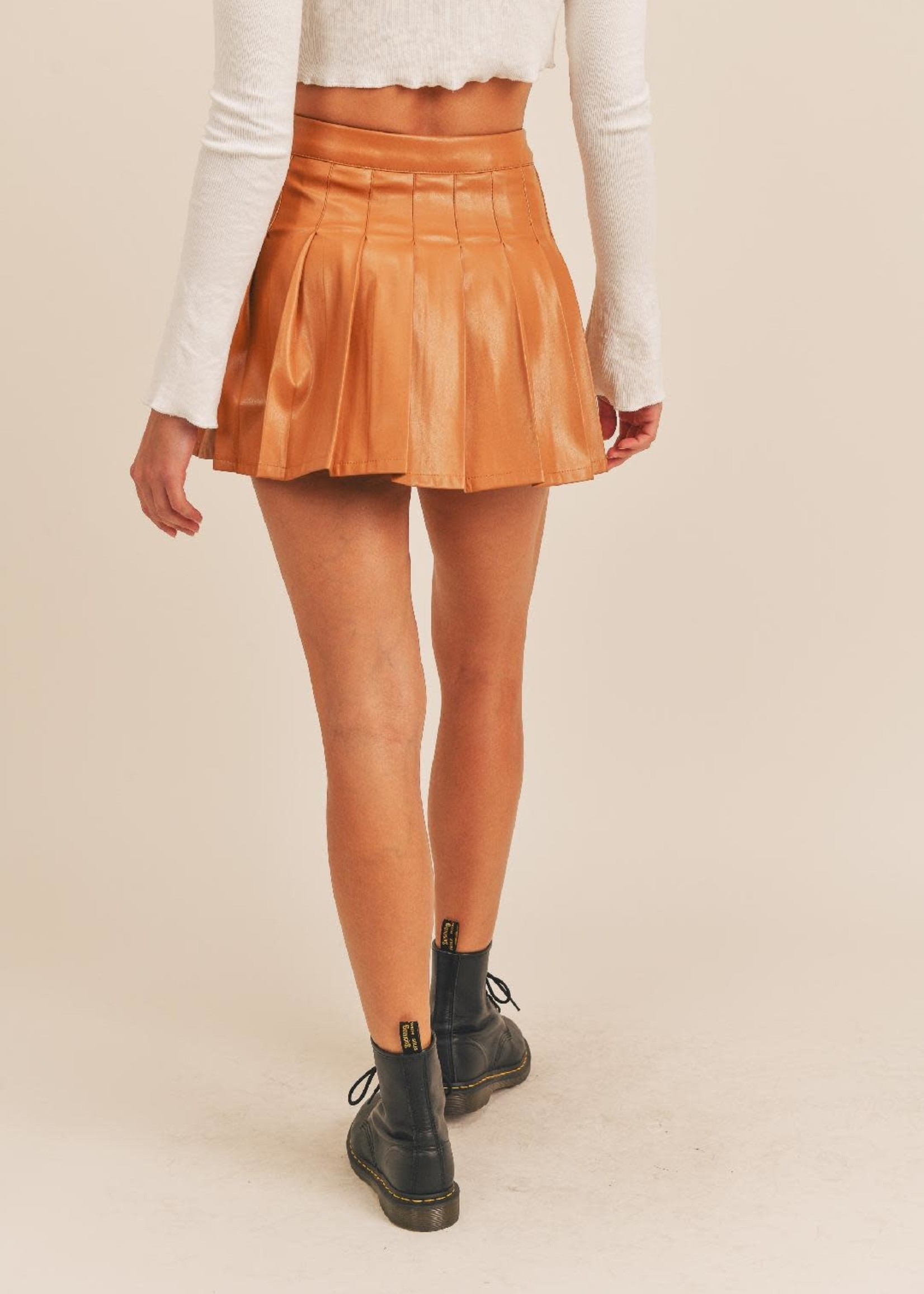 Pleats To Meet You Camel Leather Skirt