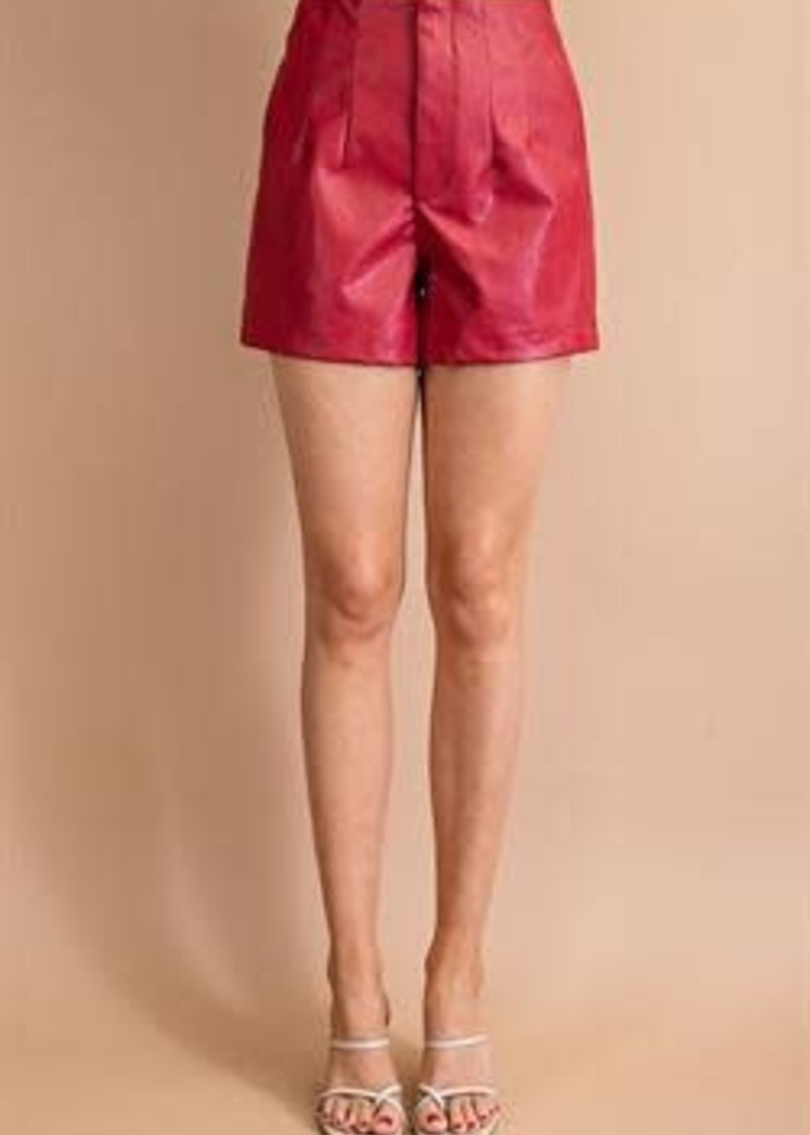 Red Leather Shorts