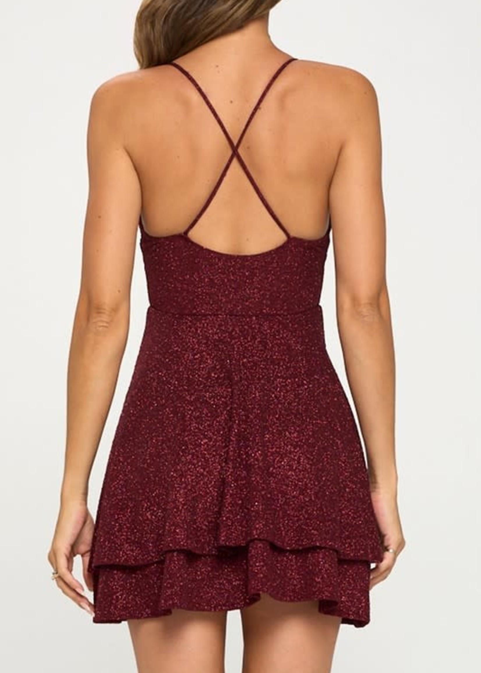 Sparkle All Night Burgundy Dress