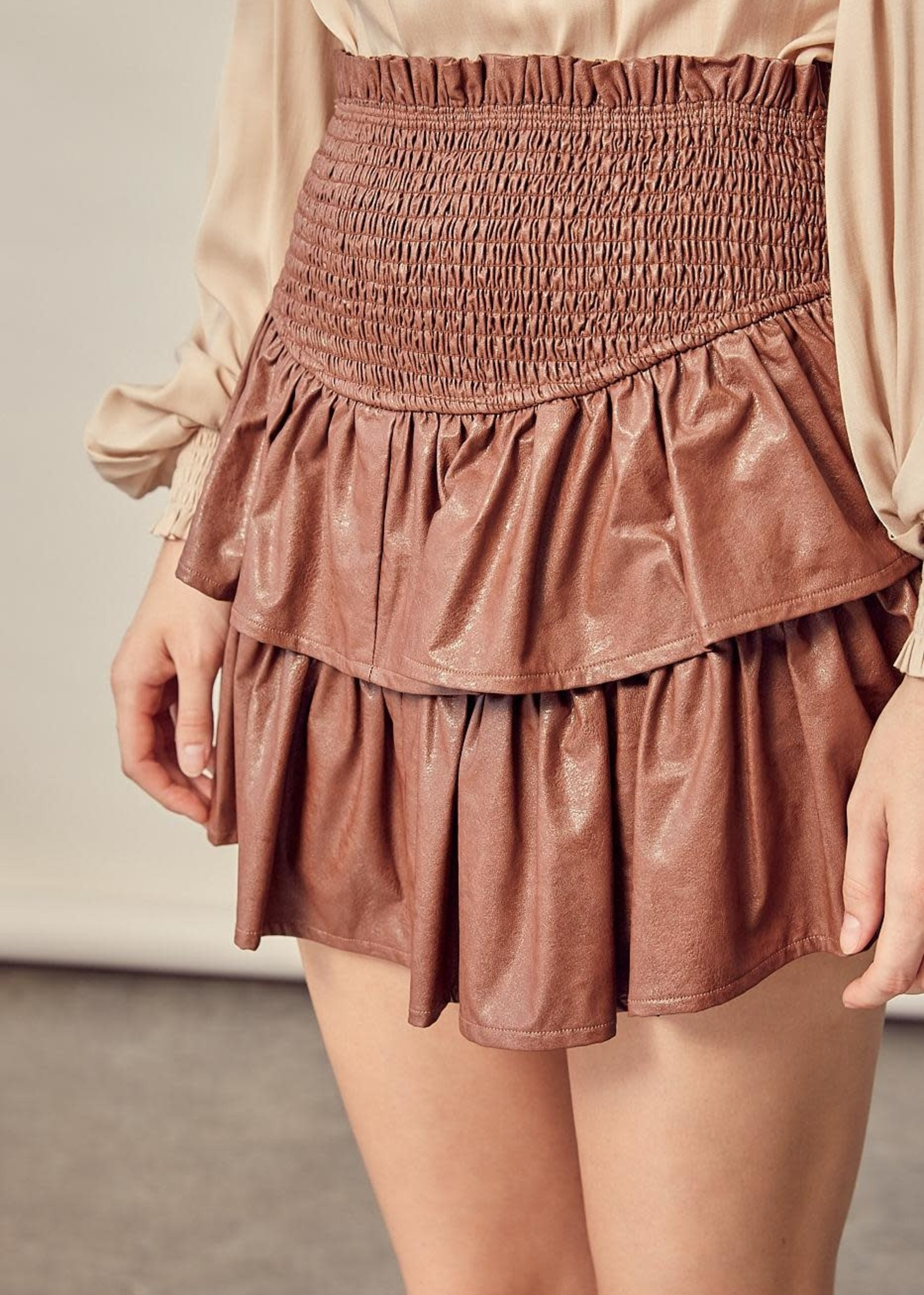 Leather Up Ruffle Skort (2 Colors)