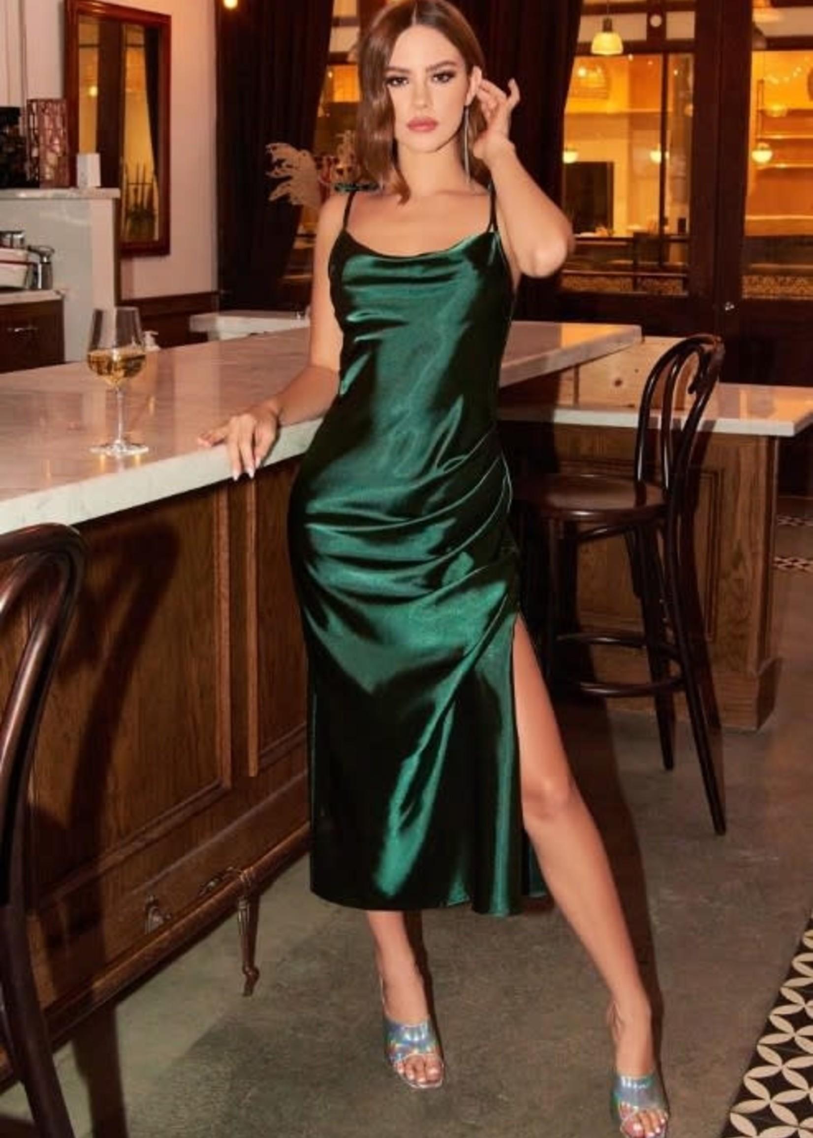 Make Me Blush Satin Slip Midi Dress (Available in 8  Colors)