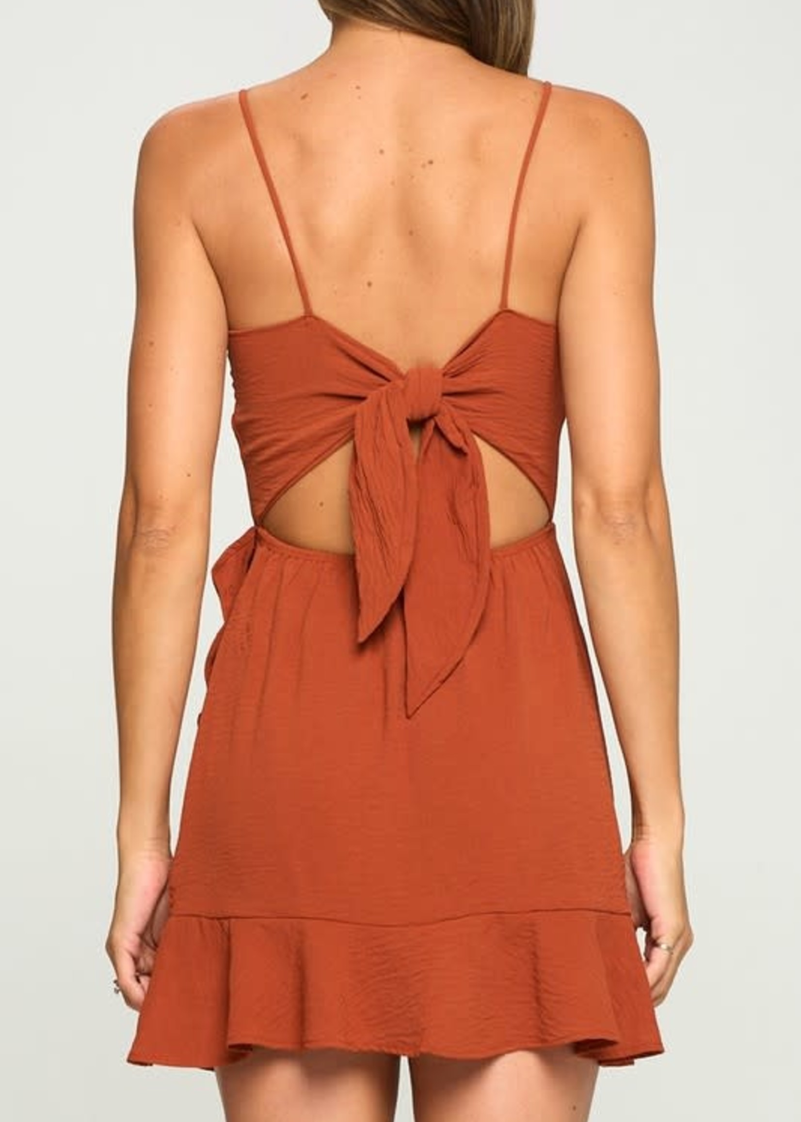 Fall For The Moment Rust Ruffle Dress