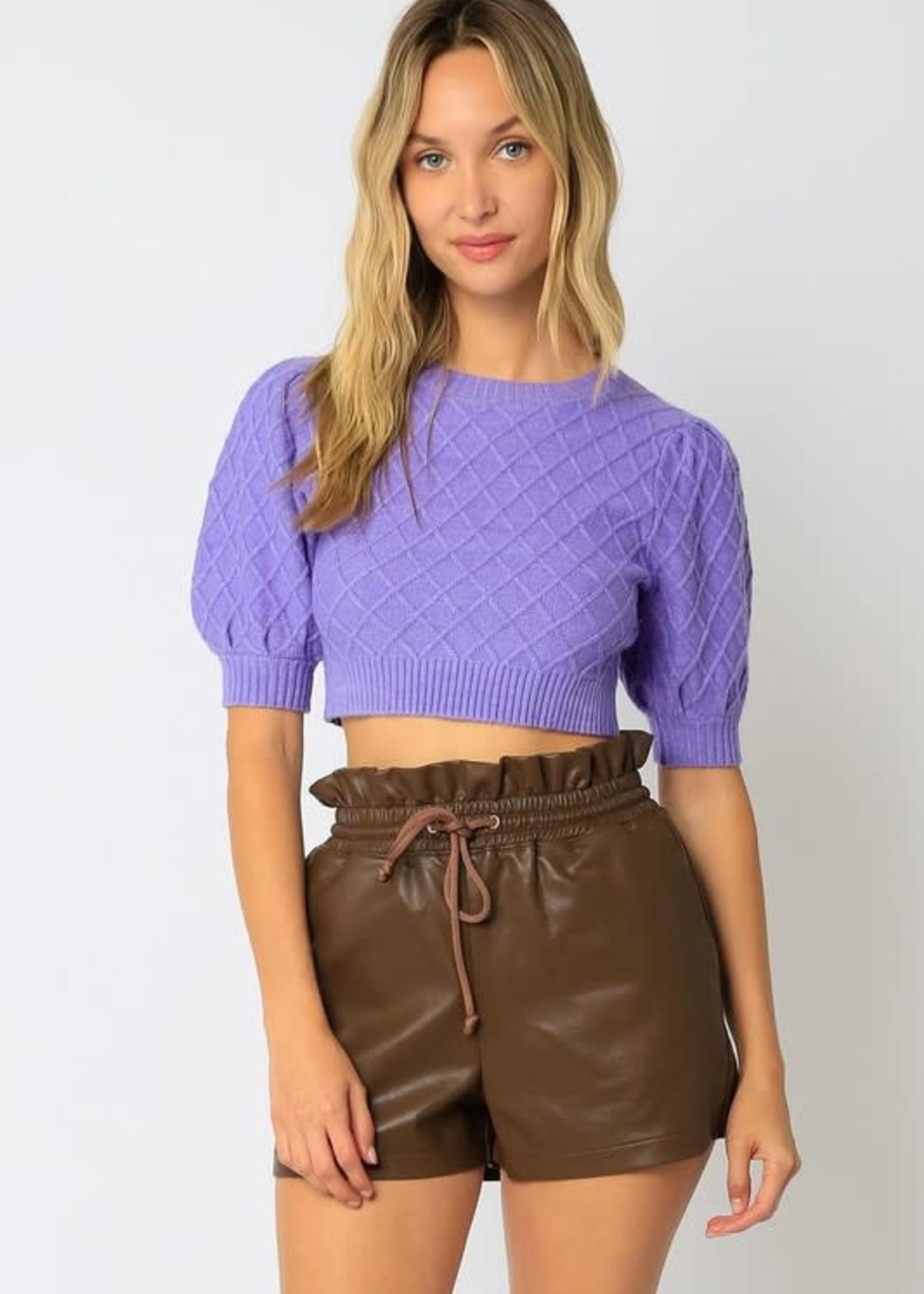 Purple Puff Sleeve Crop Sweater