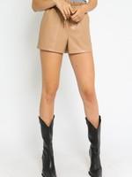 Camel Leather PaperBag Shorts