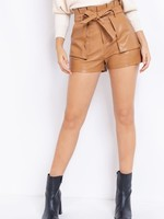 Yes You Can Camel Leather Shorts