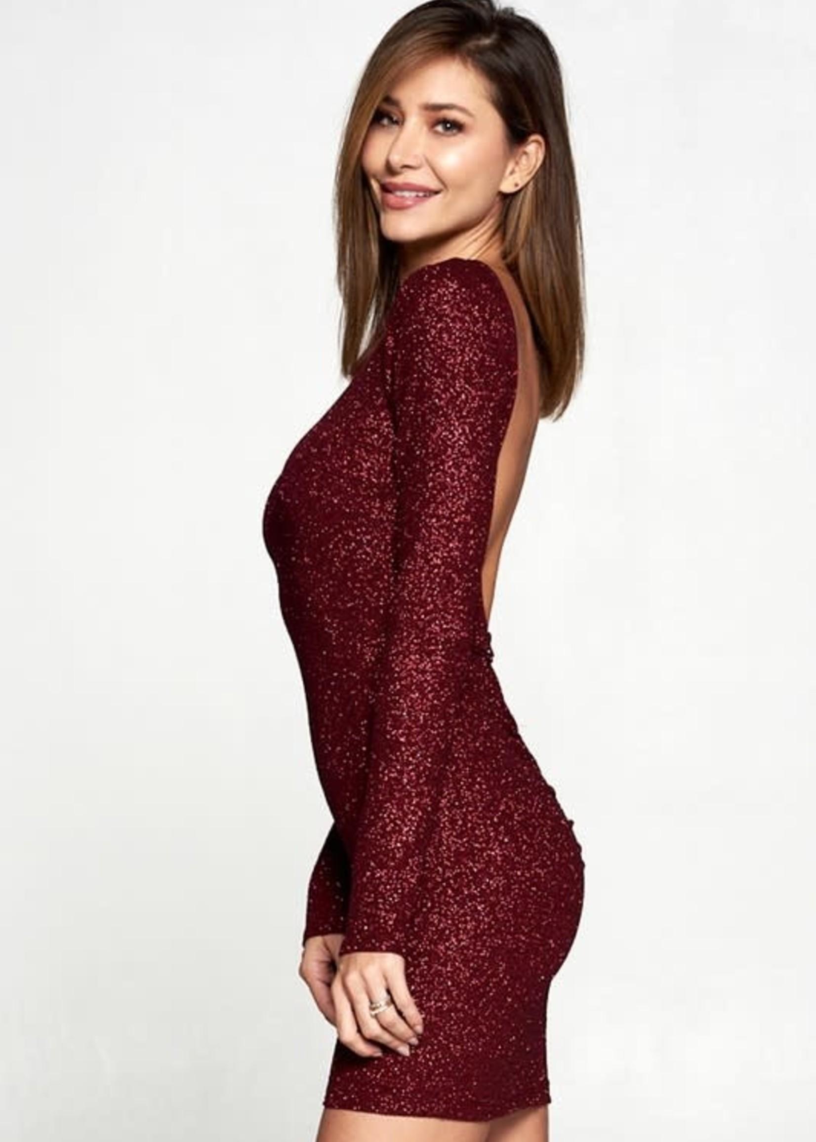 Celebrate Now Open Back Burgundy Dress