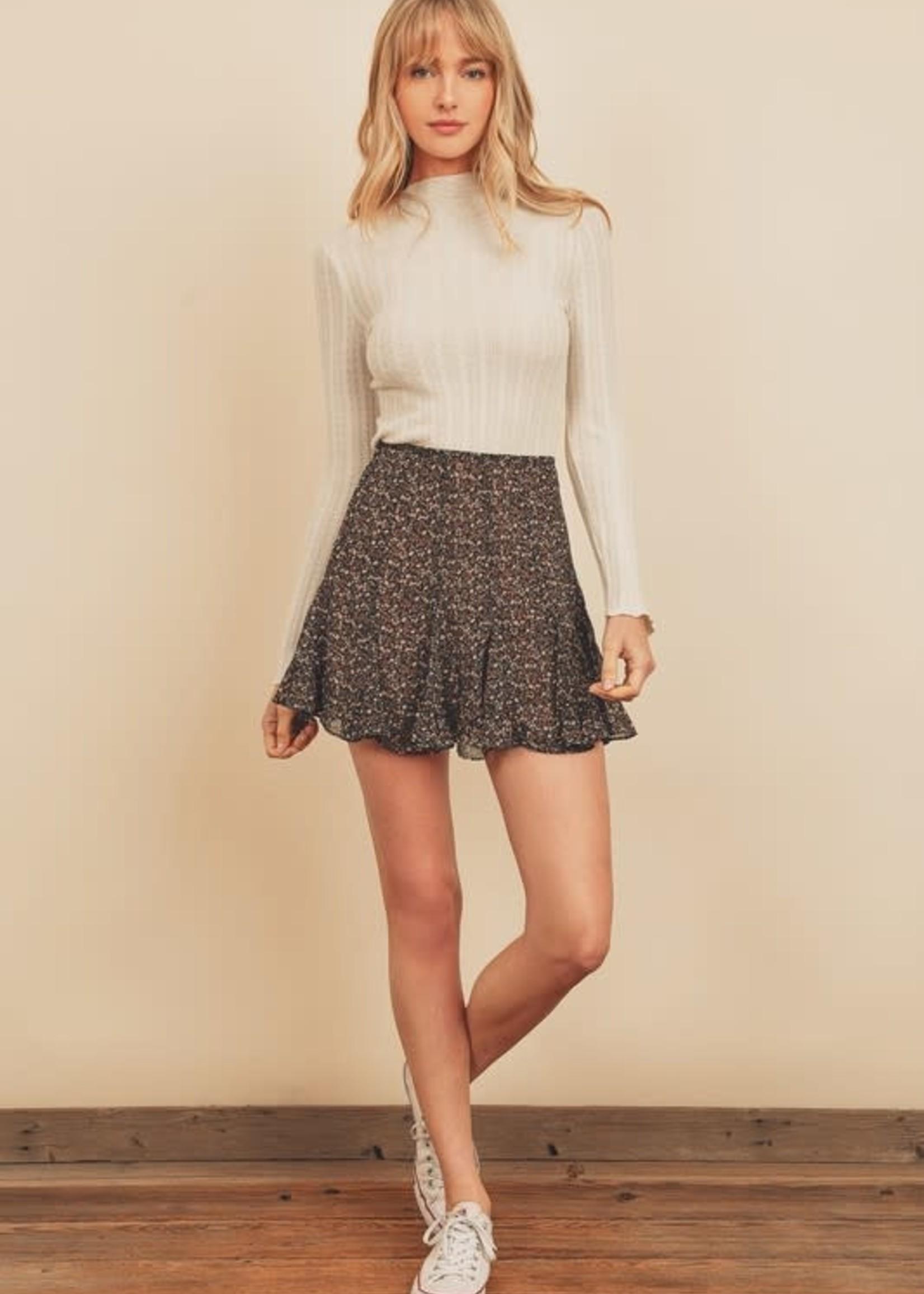 Navy Floral Skirt