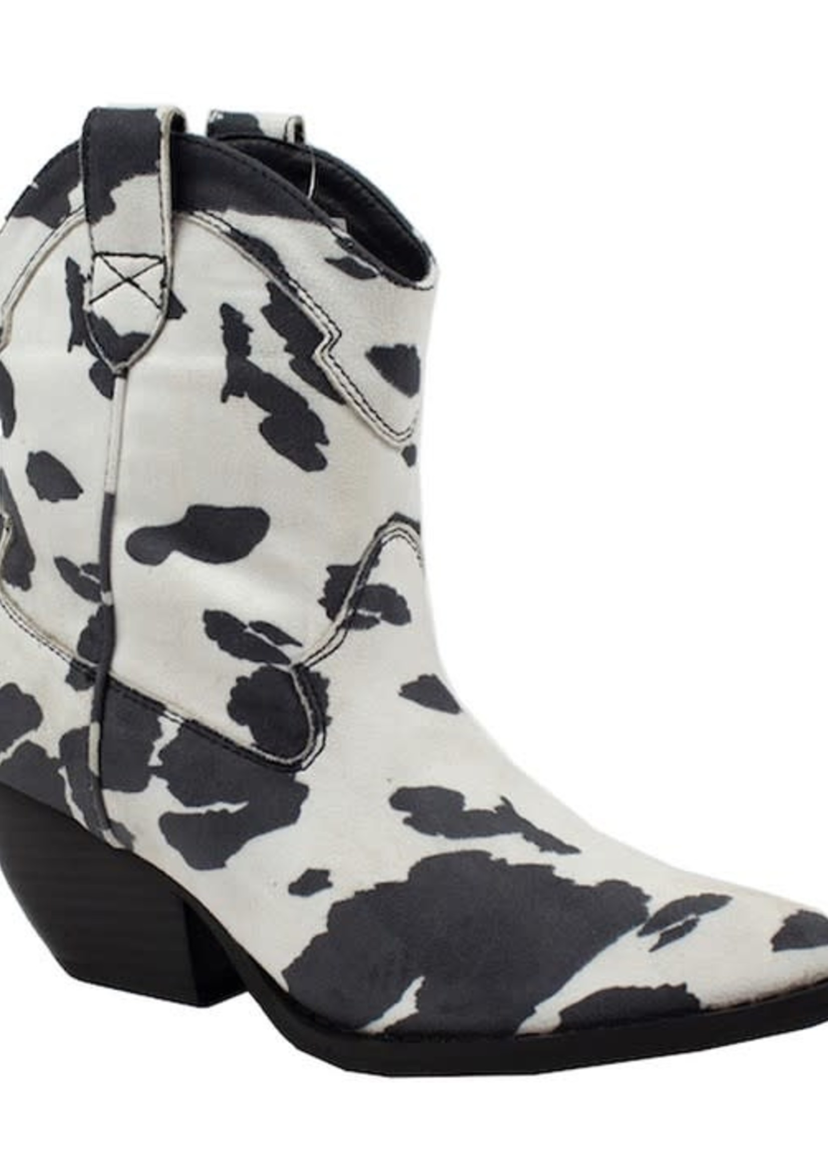 Bet On It Black Cow Print Boots