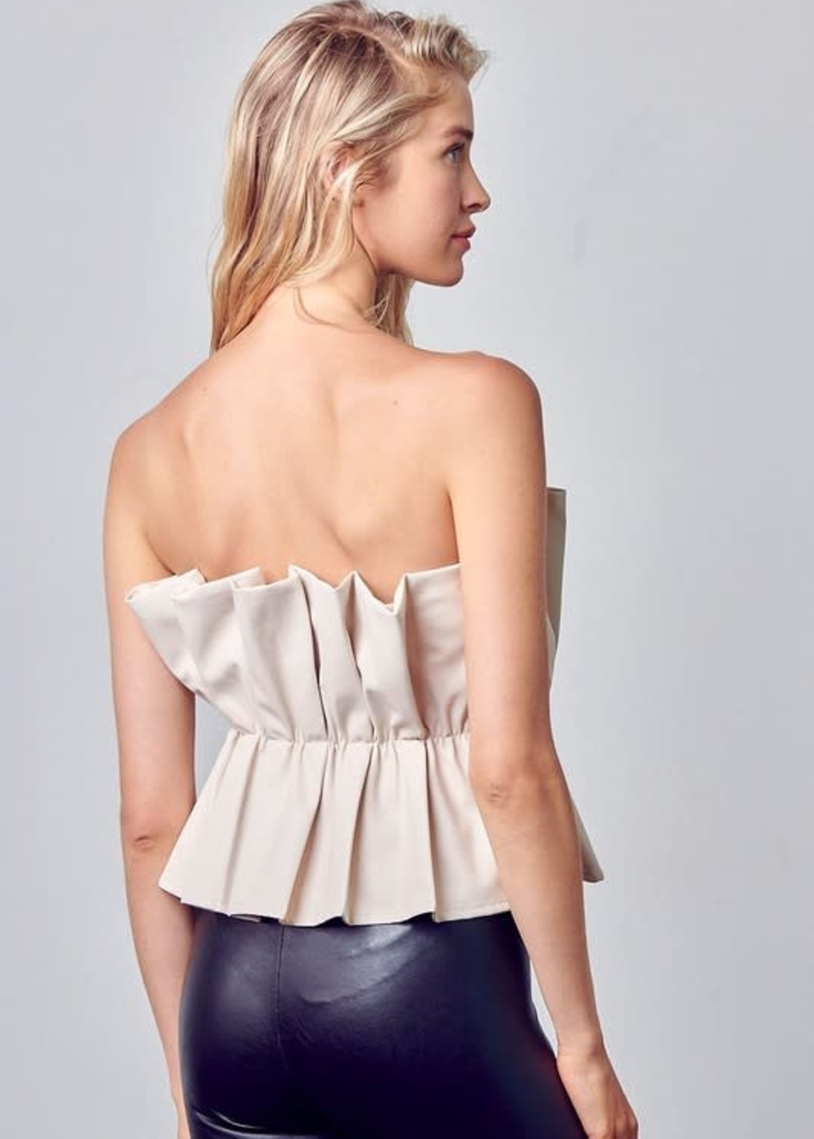 Ruffle Up Leather Top (2 Colors)