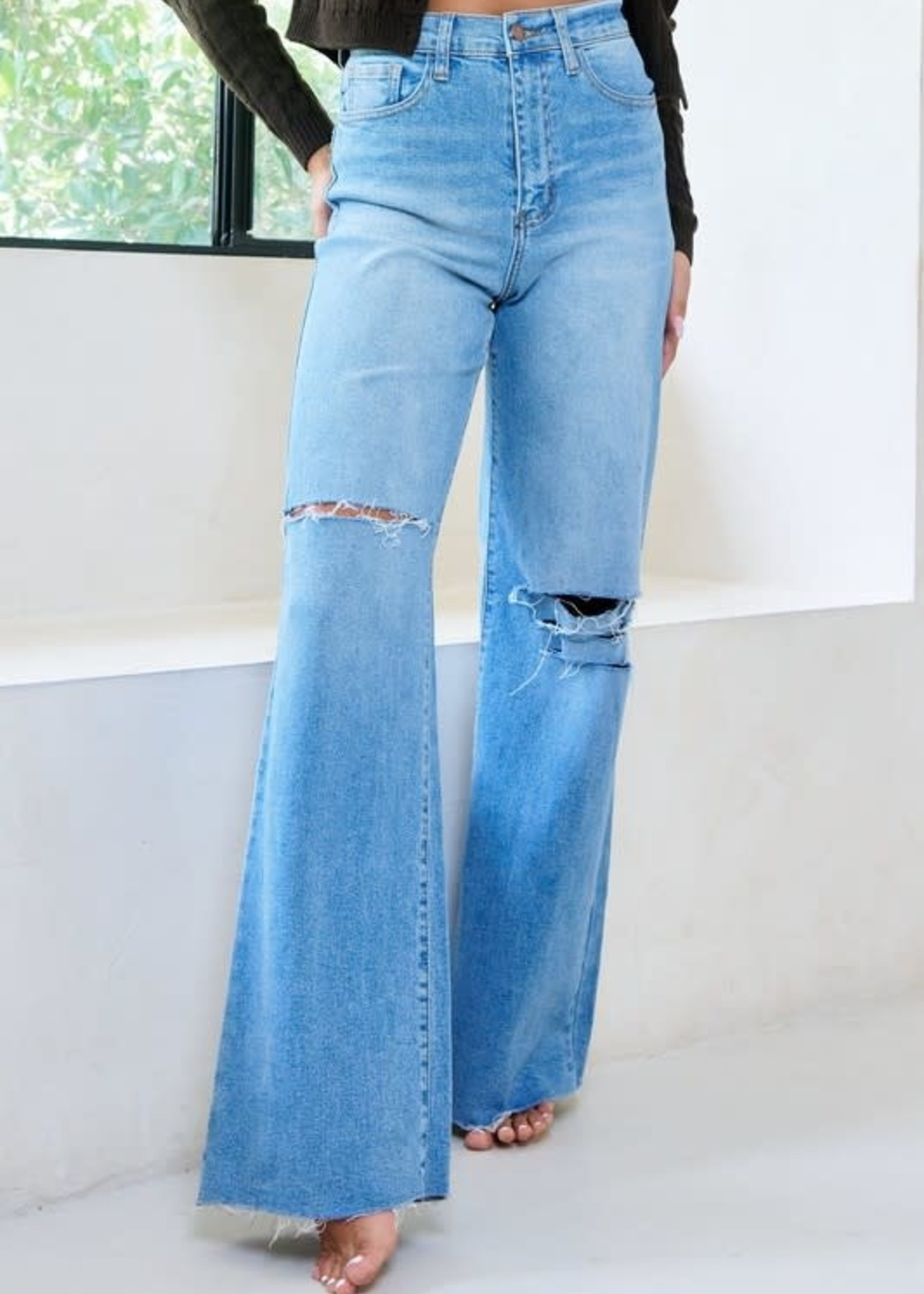 High Waisted Distressed Wide Fit Denim