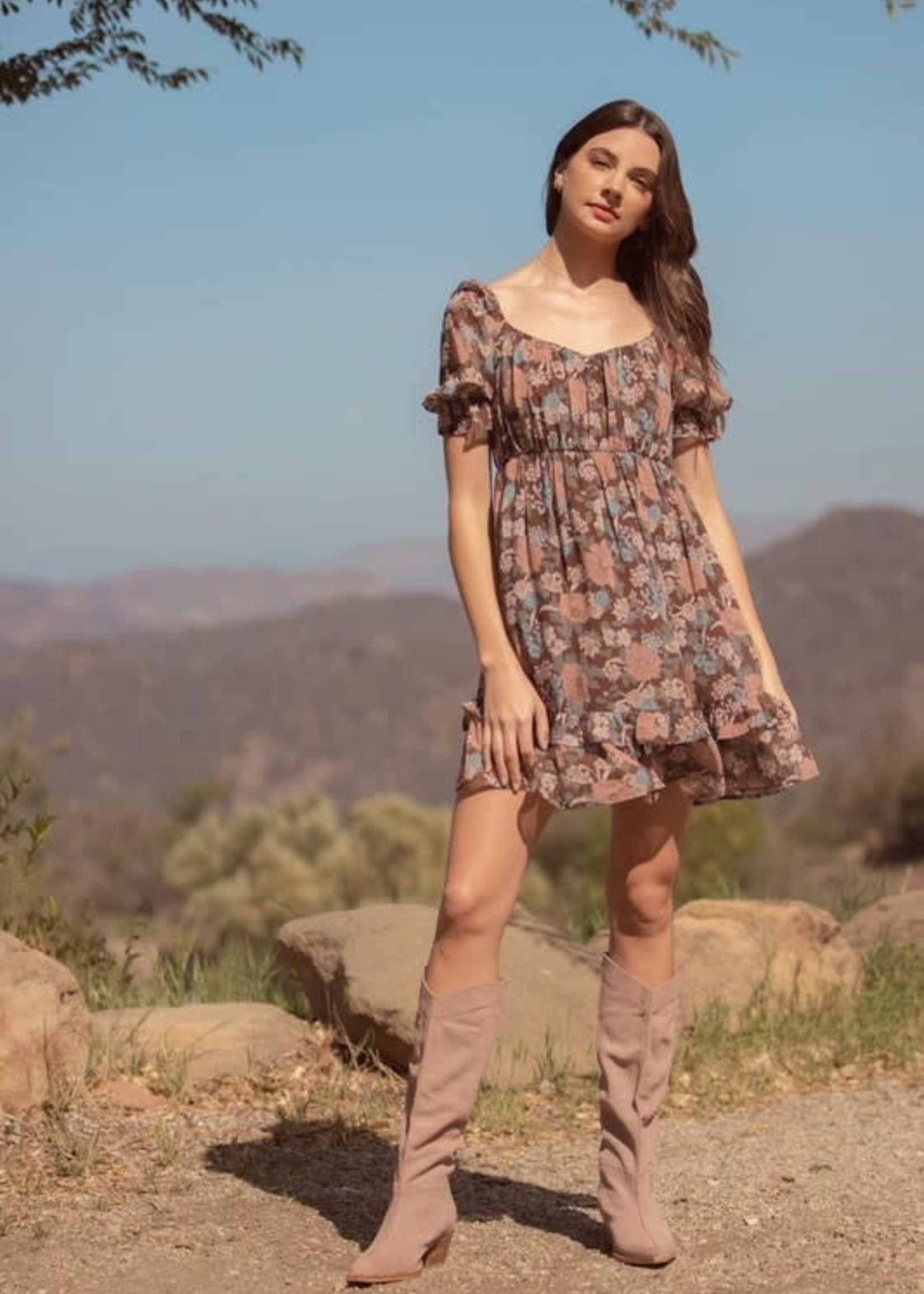 Fall With Me Brown Floral Dress