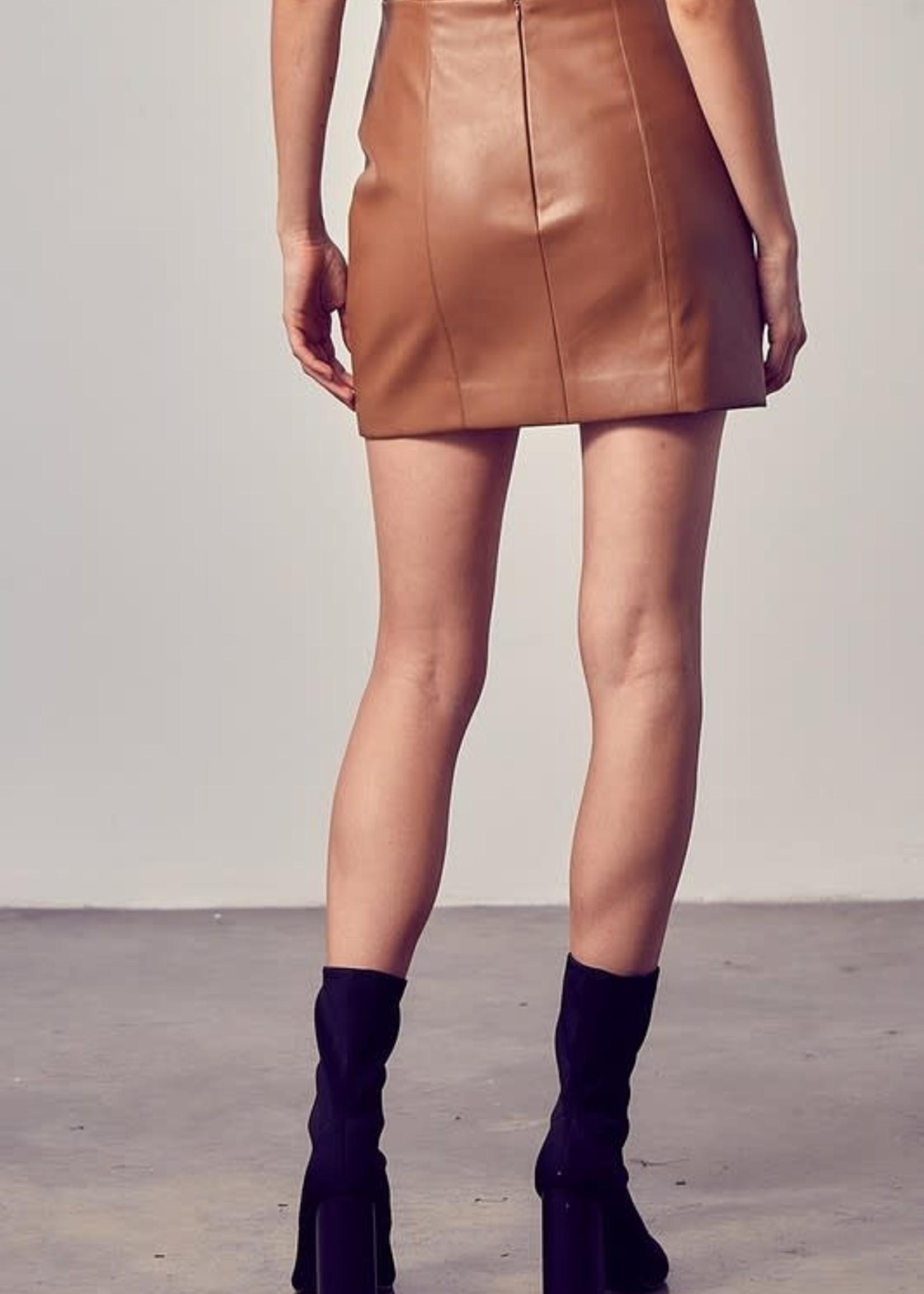 Make It Count Mocha Leather Skirt