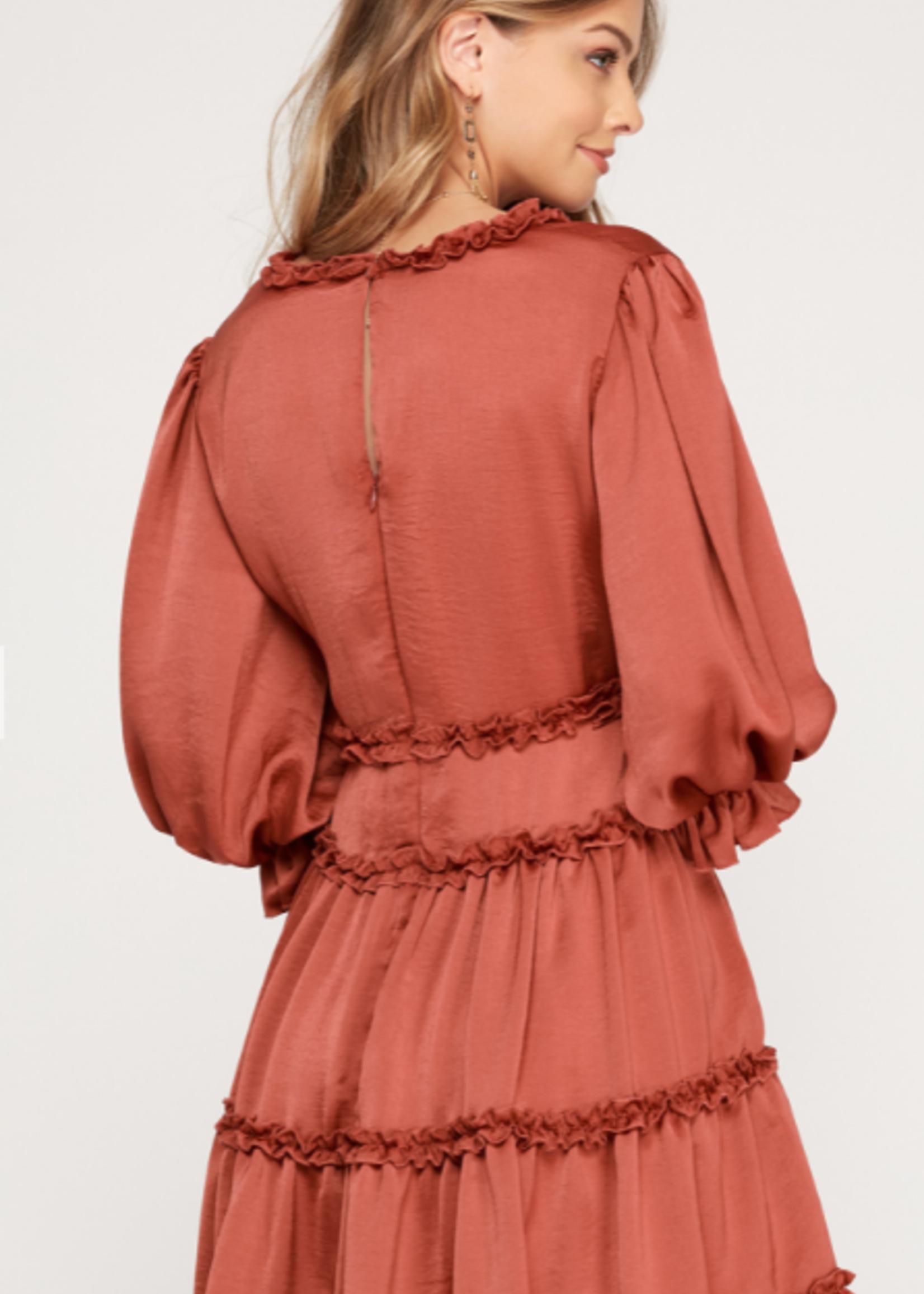 Fall Ruffle Rust Dress